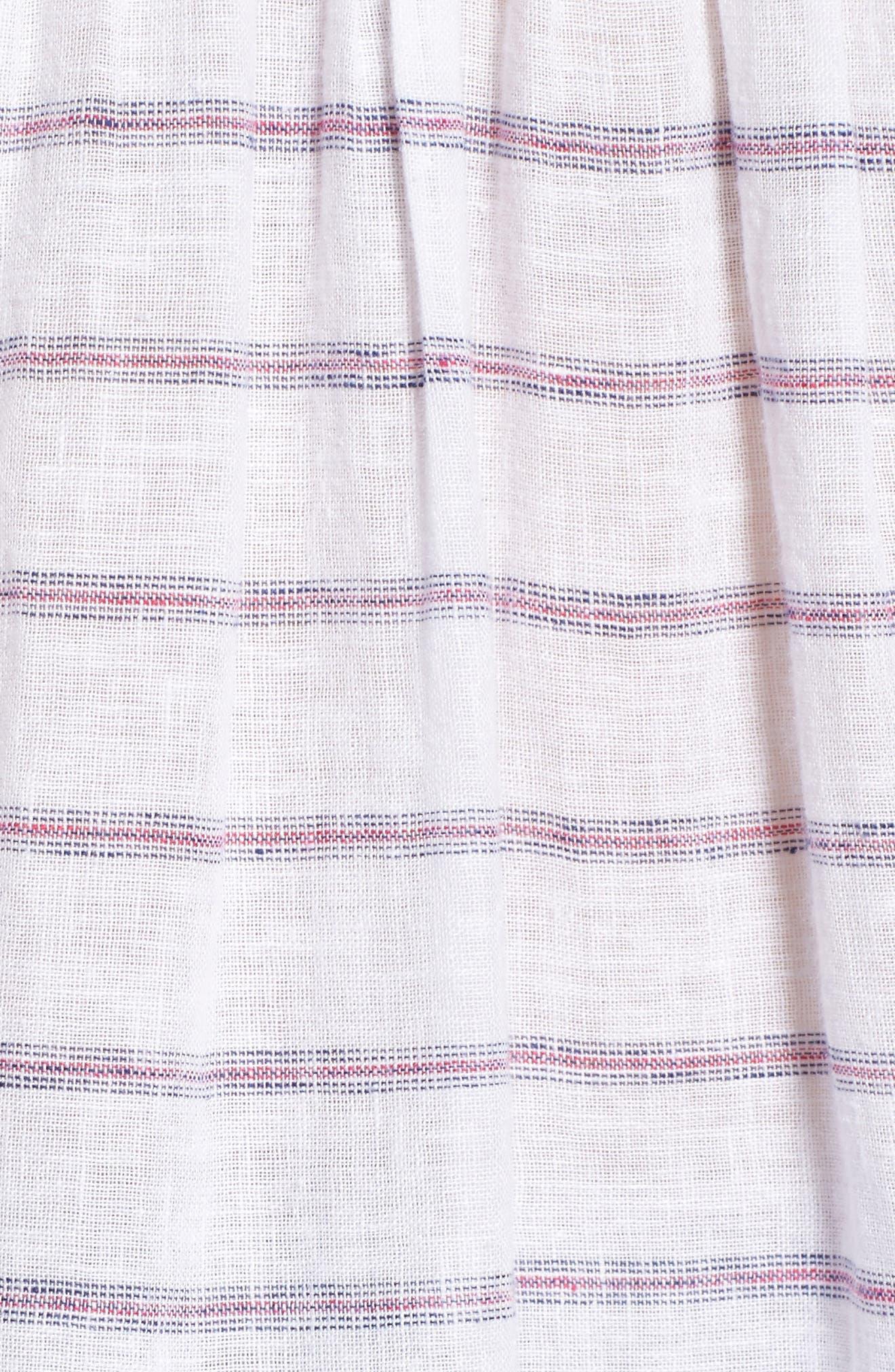 Isabelle Off the Shoulder Linen Blend Top,                             Alternate thumbnail 5, color,                             White Royal Magenta