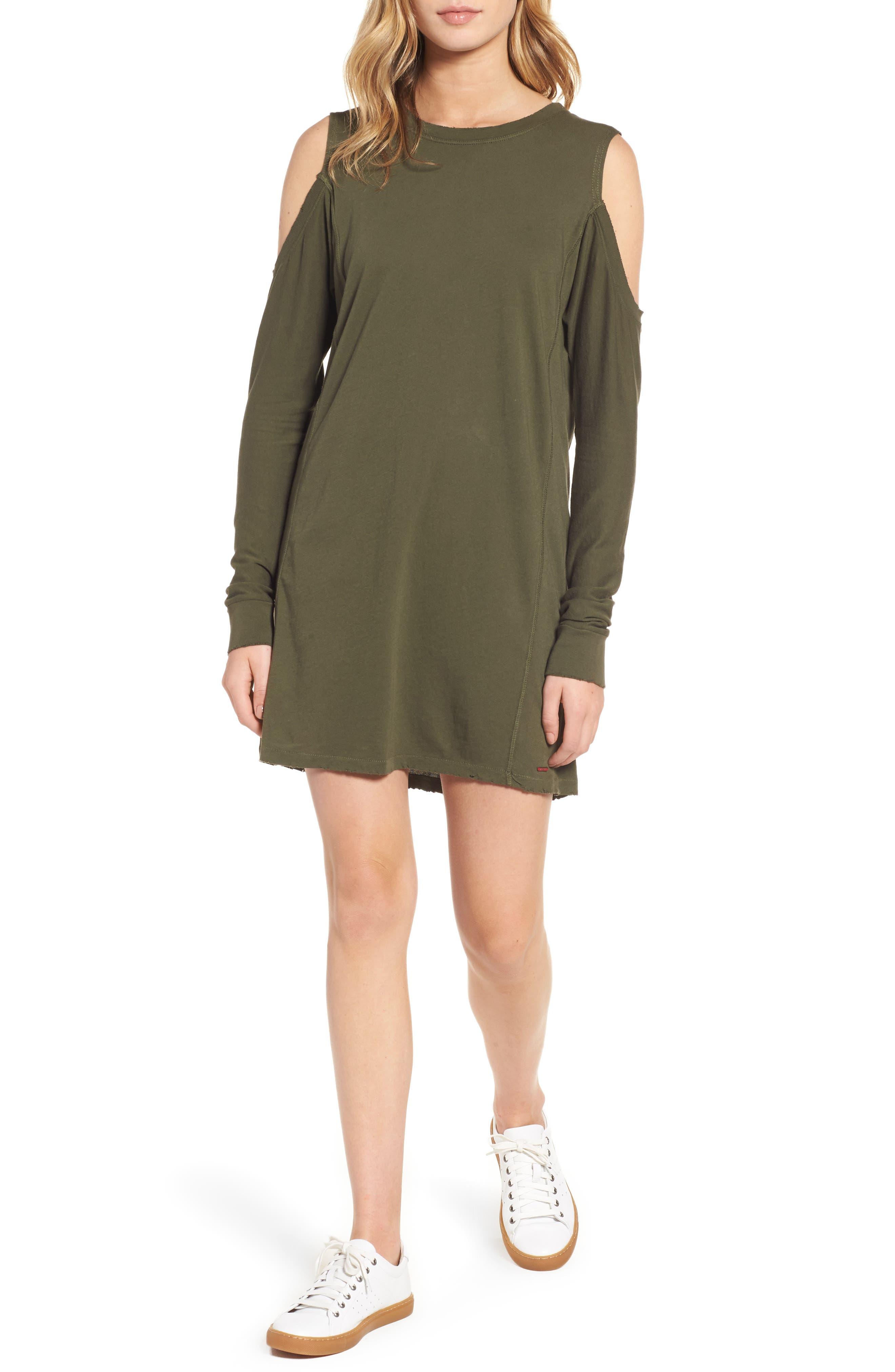 Billie Cold Shoulder Minidress,                         Main,                         color, Moss