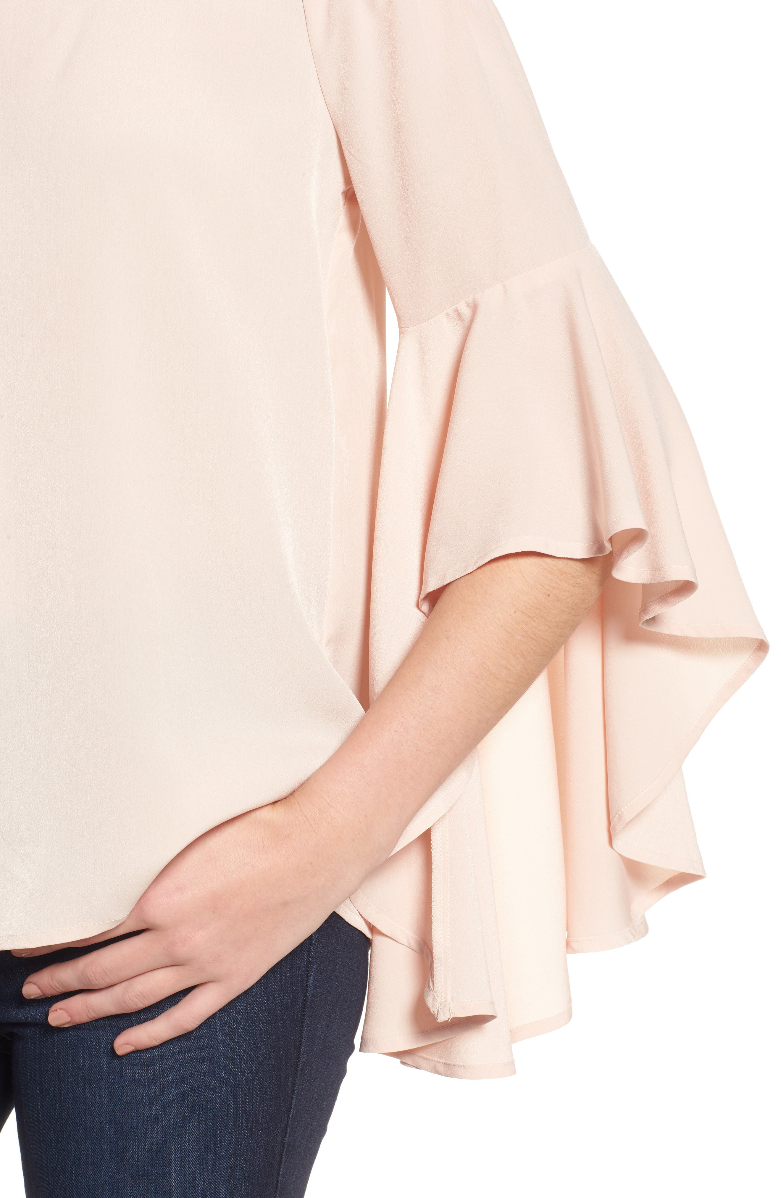 Bell Sleeve Off the Shoulder Top,                             Alternate thumbnail 4, color,                             Pink Hero