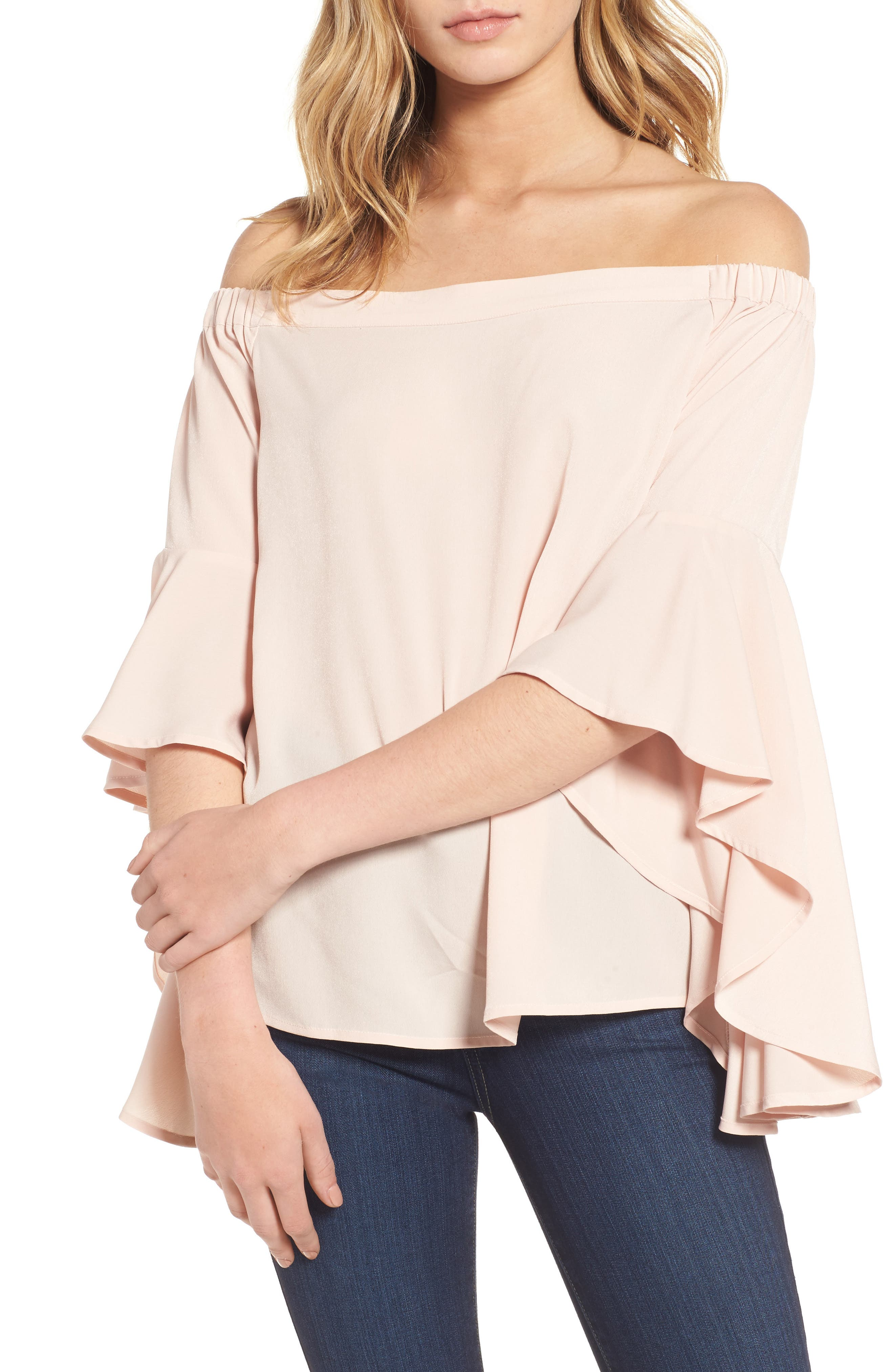 Bell Sleeve Off the Shoulder Top,                             Main thumbnail 1, color,                             Pink Hero