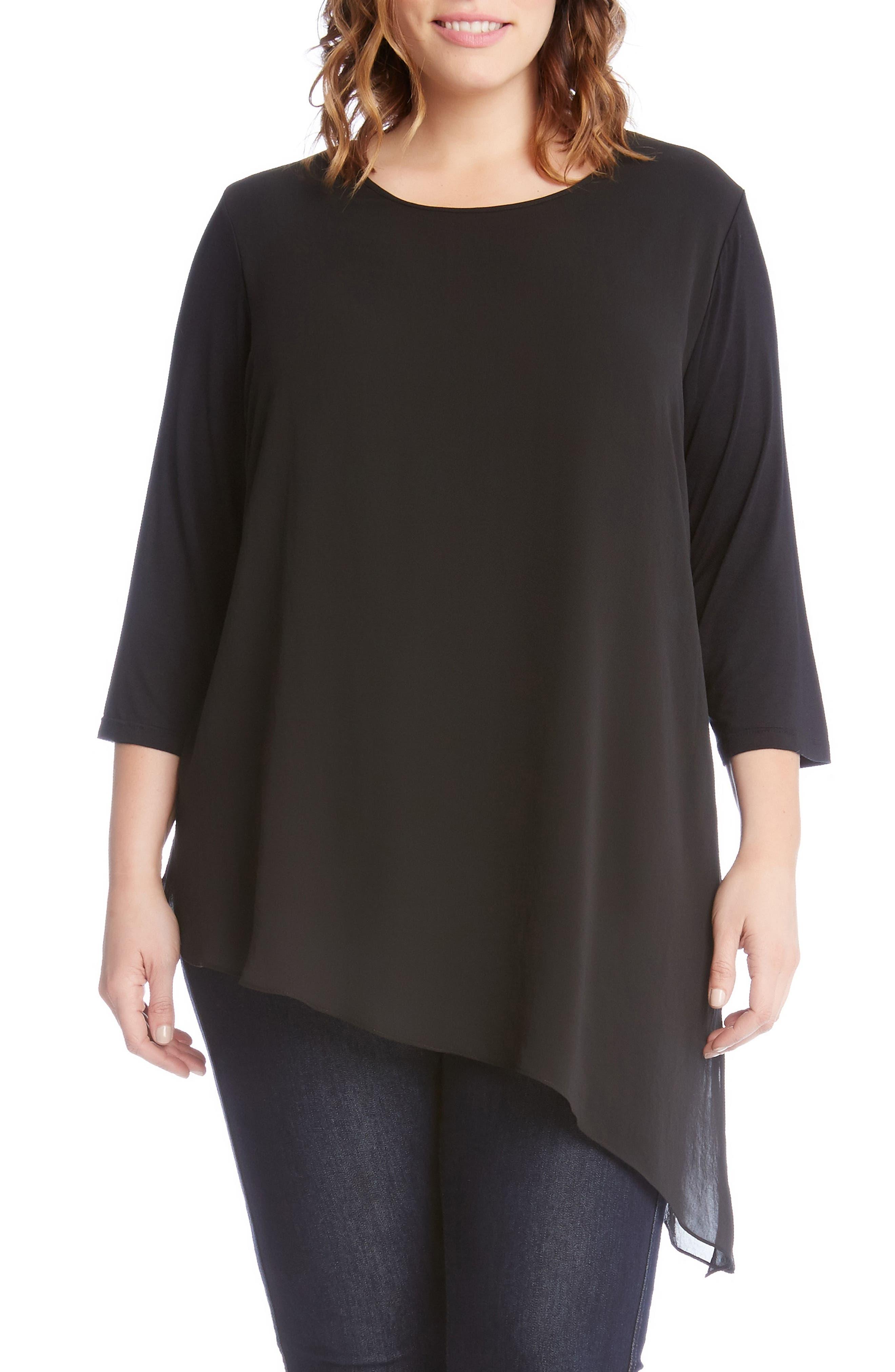 Karen Kane Asymmmetrcial Sheer Overlay Top (Plus Size)