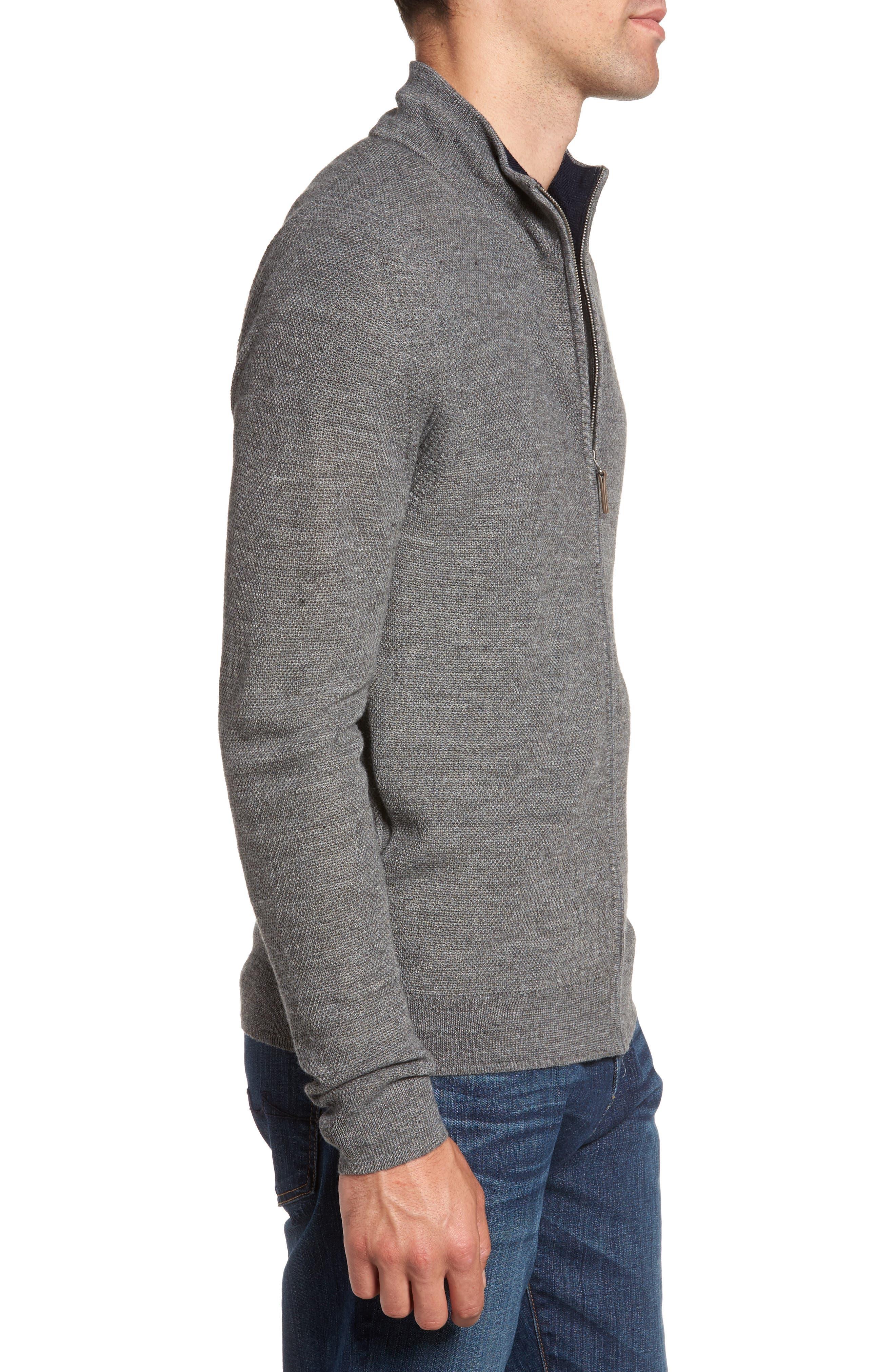 Alternate Image 3  - Nordstrom Men's Shop Honeycomb Zip Front Cardigan