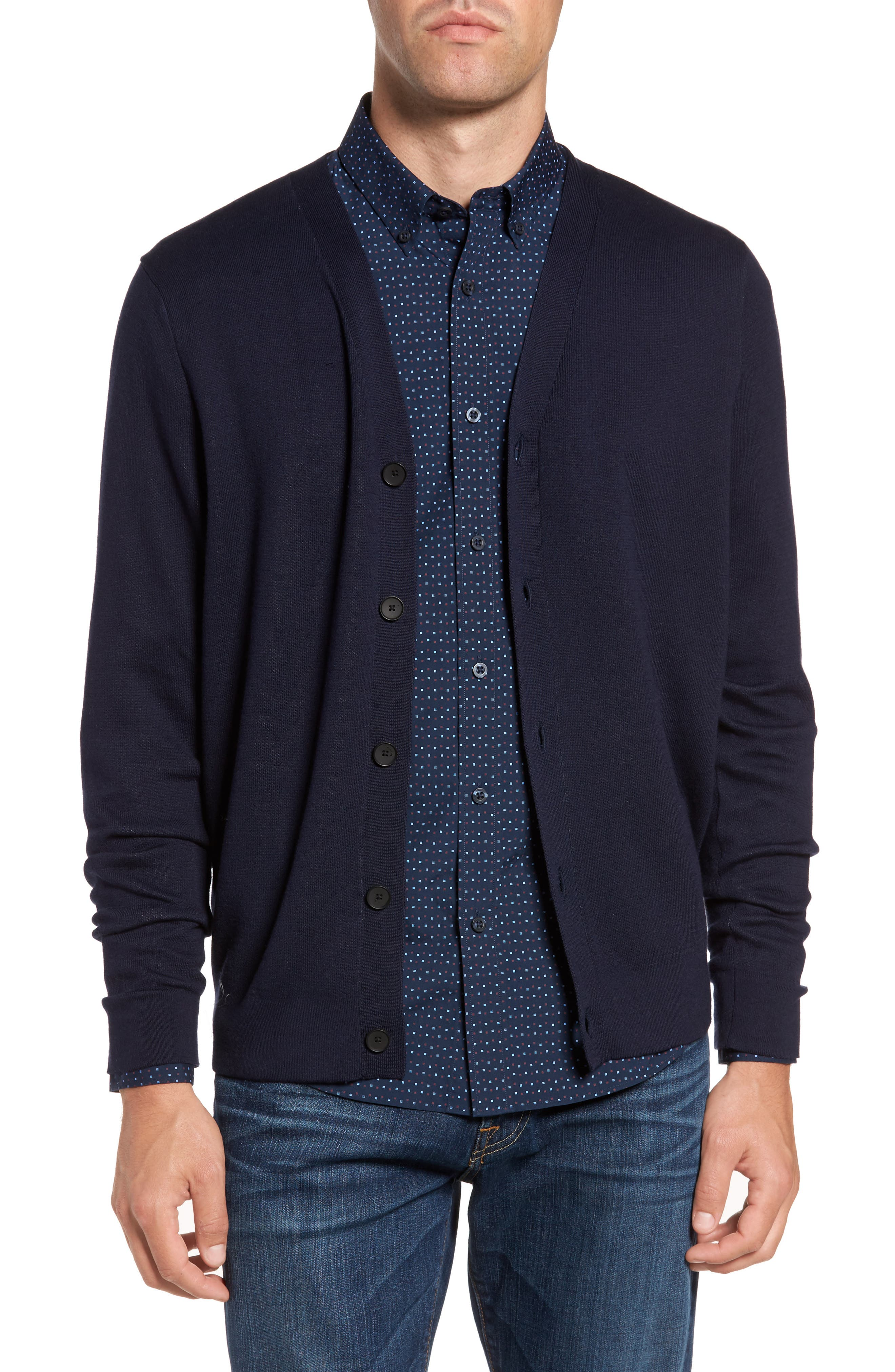 Main Image - Nordstrom Men's Shop Cotton Blend Cardigan