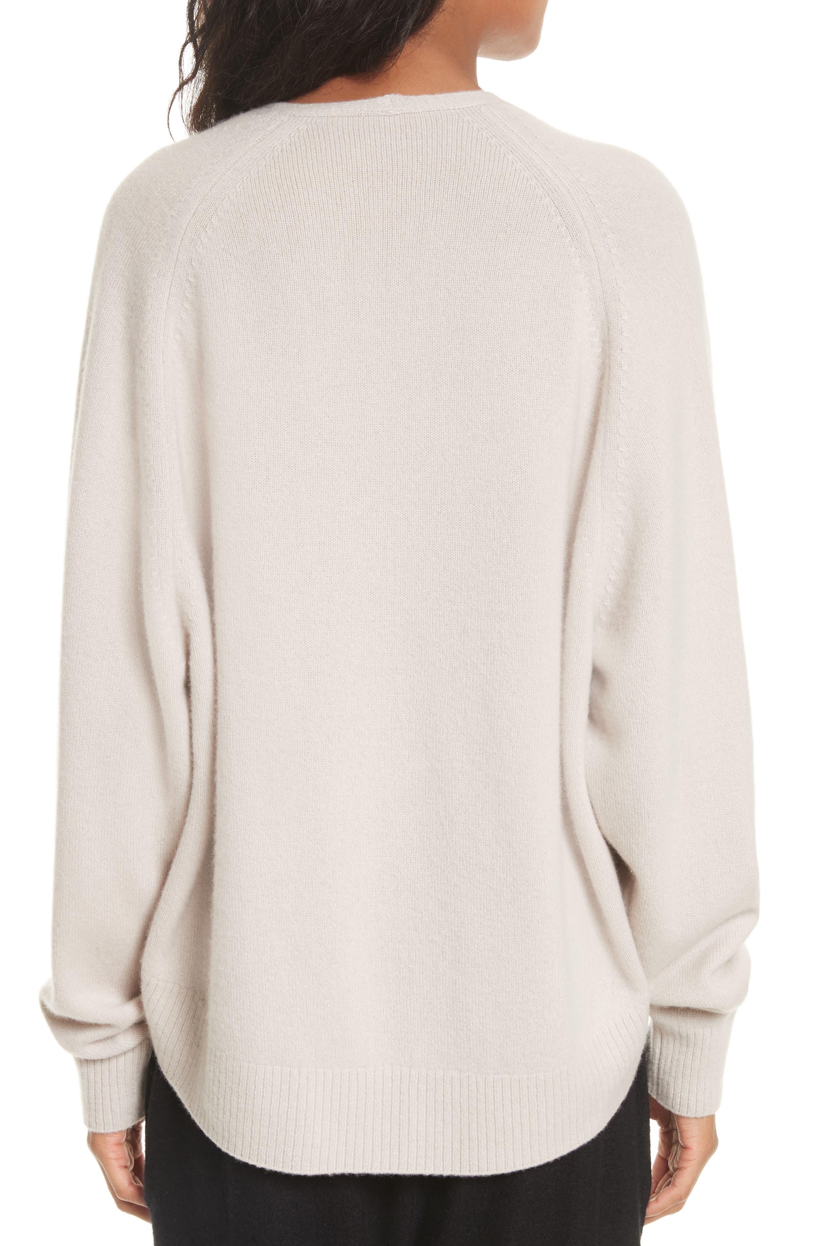 Deep V-Neck Cashmere Sweater,                             Alternate thumbnail 3, color,                             Linen