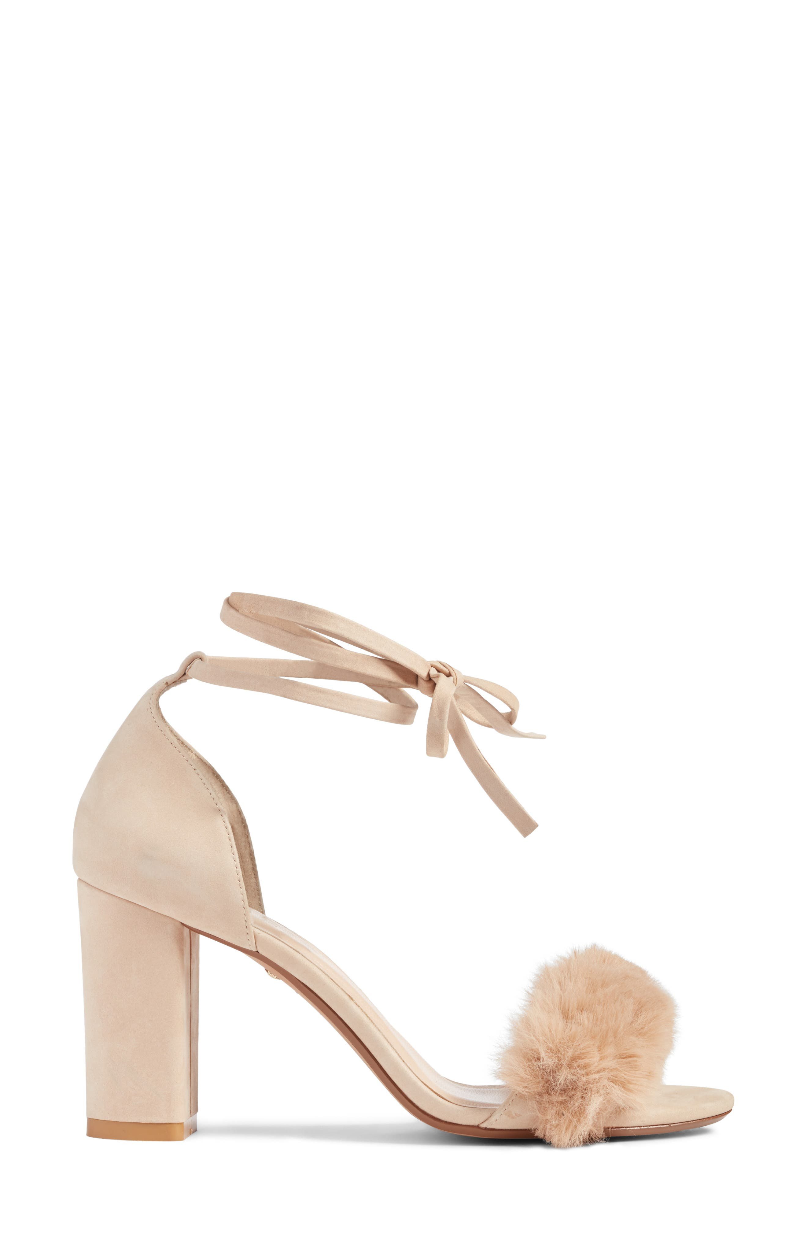 Lacey Faux Fur Sandal,                             Alternate thumbnail 3, color,                             Sable Fur