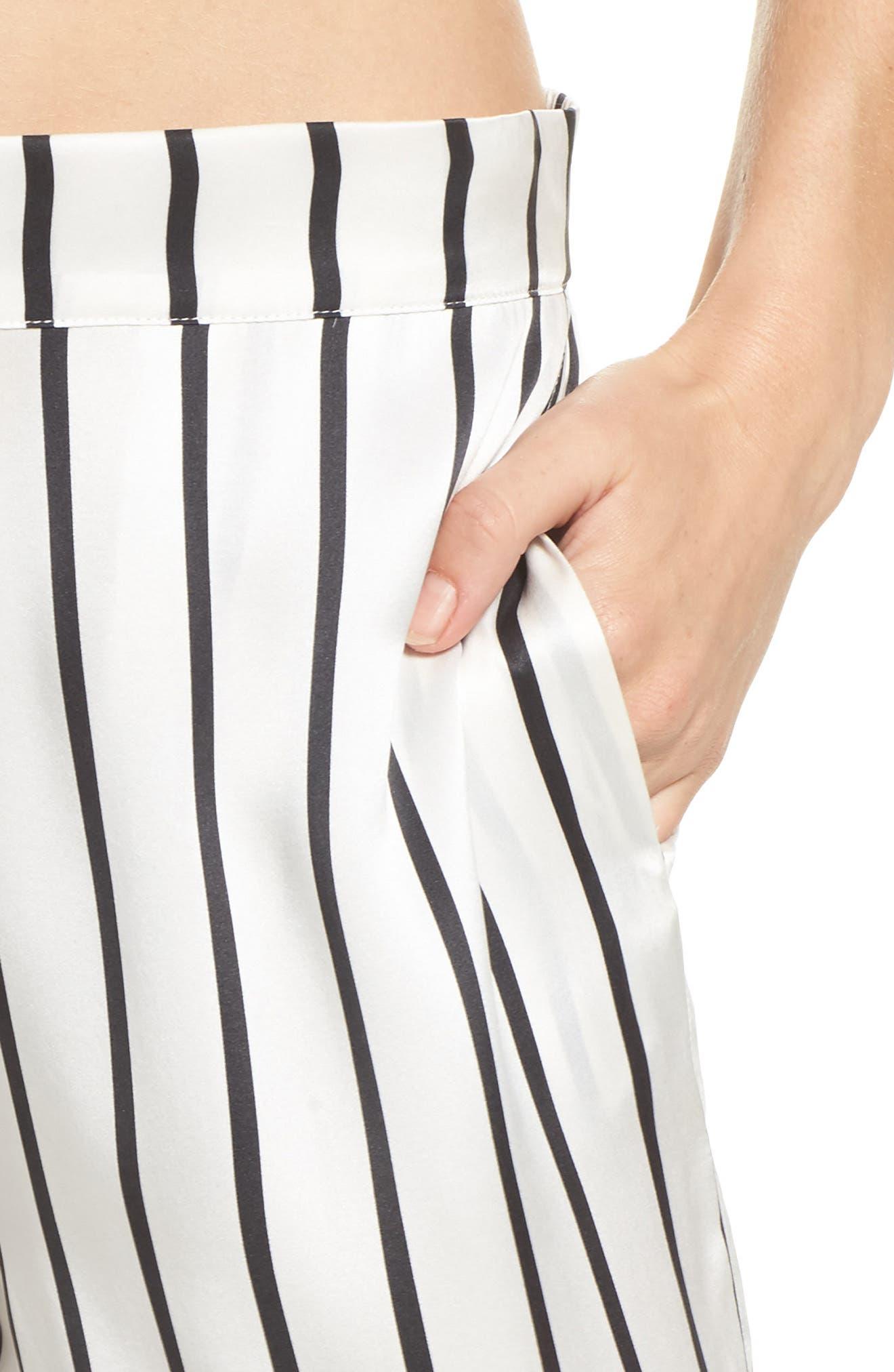 Stripe Silk Pajama Pants,                             Alternate thumbnail 6, color,                             Jet Black Stripe