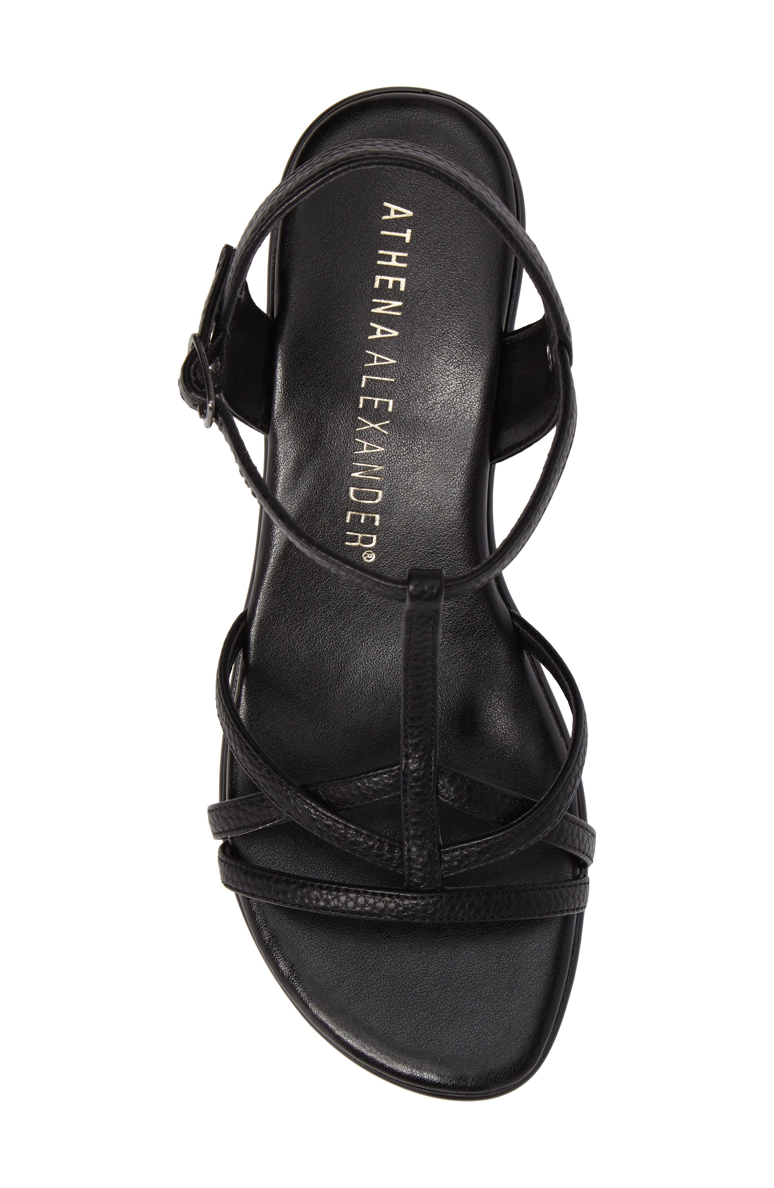Cassort T-Strap Sandal,                             Alternate thumbnail 5, color,                             Black Faux Leather
