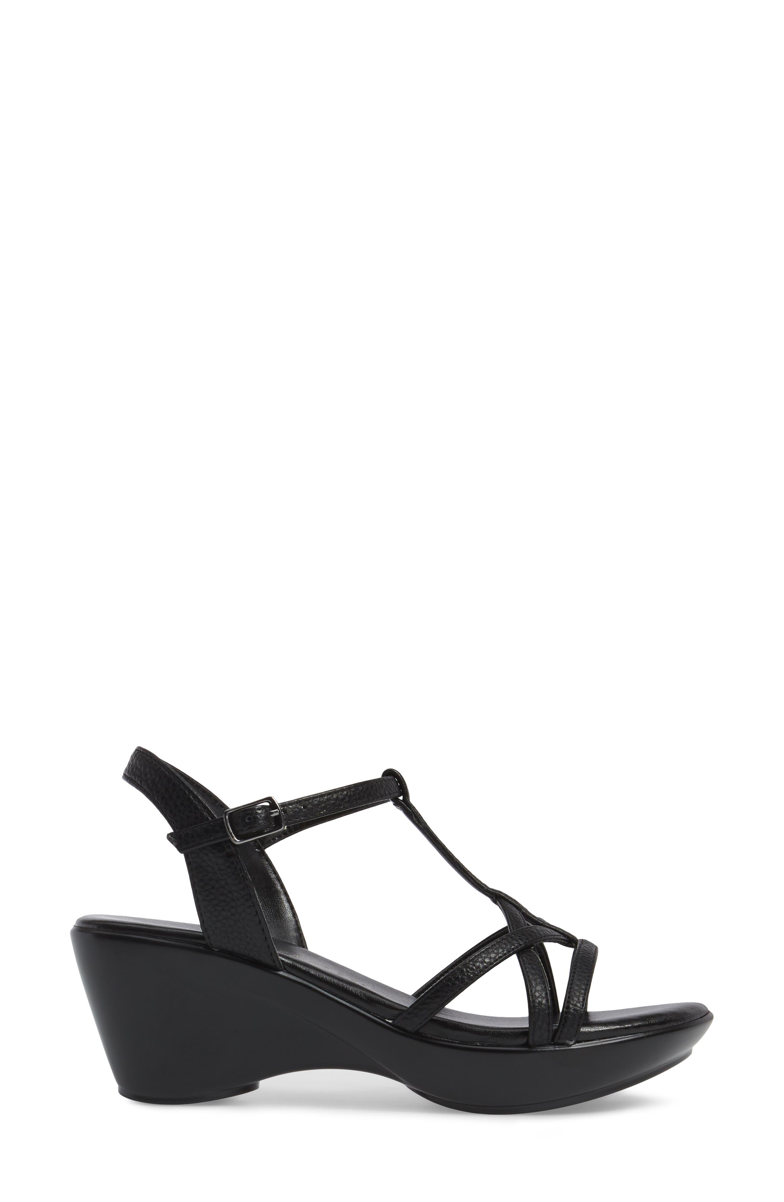 Cassort T-Strap Sandal,                             Alternate thumbnail 3, color,                             Black Faux Leather