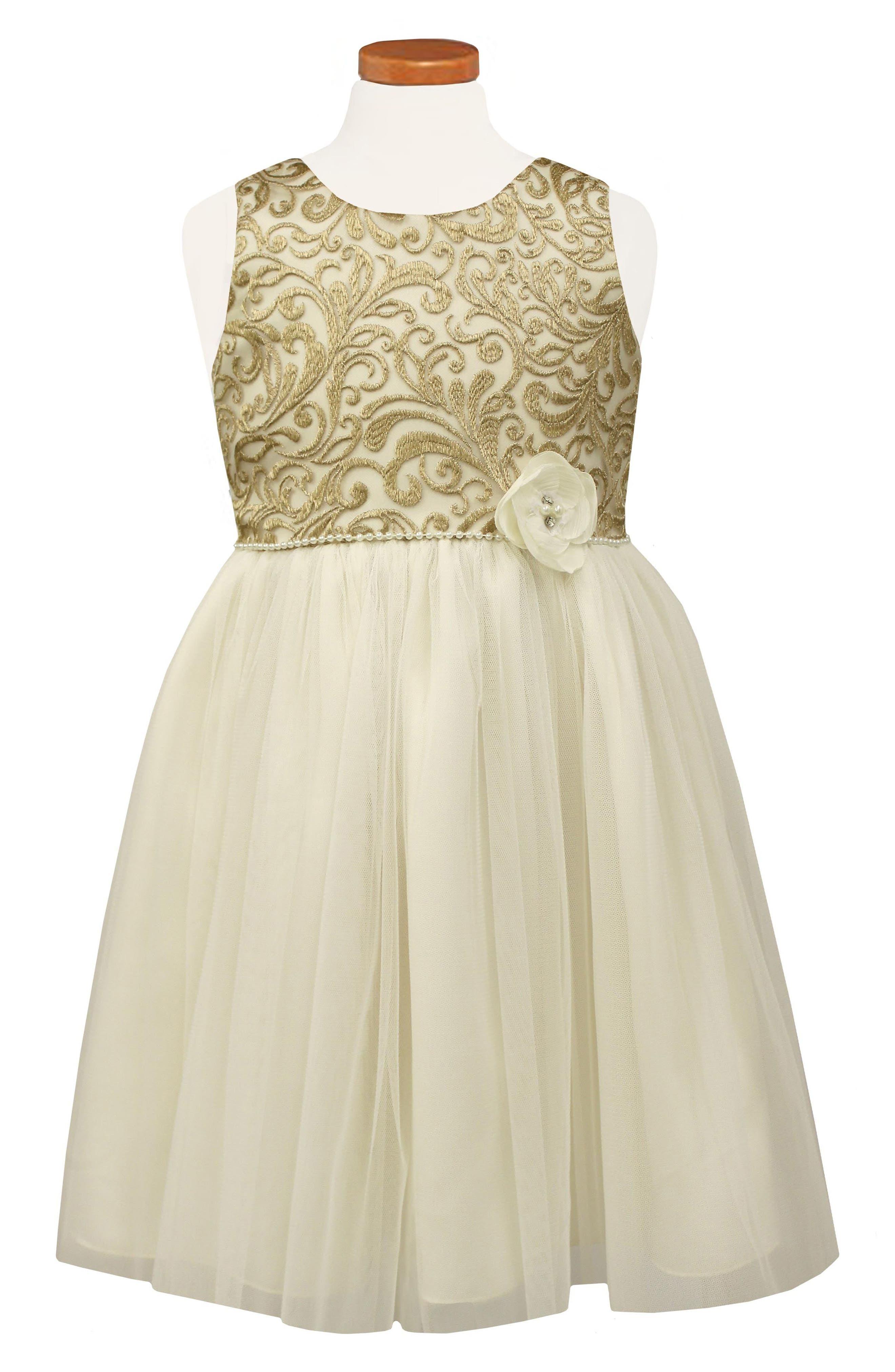 Brocade Ballerina Dress,                             Main thumbnail 1, color,                             Ivory