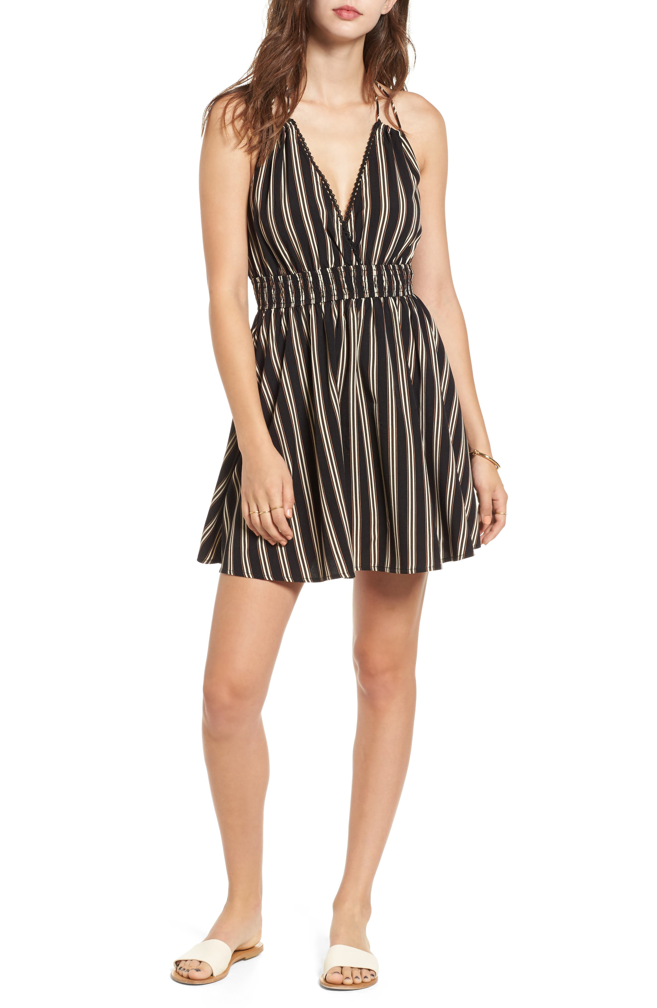 Moon River Stripe Halter Skater Dress