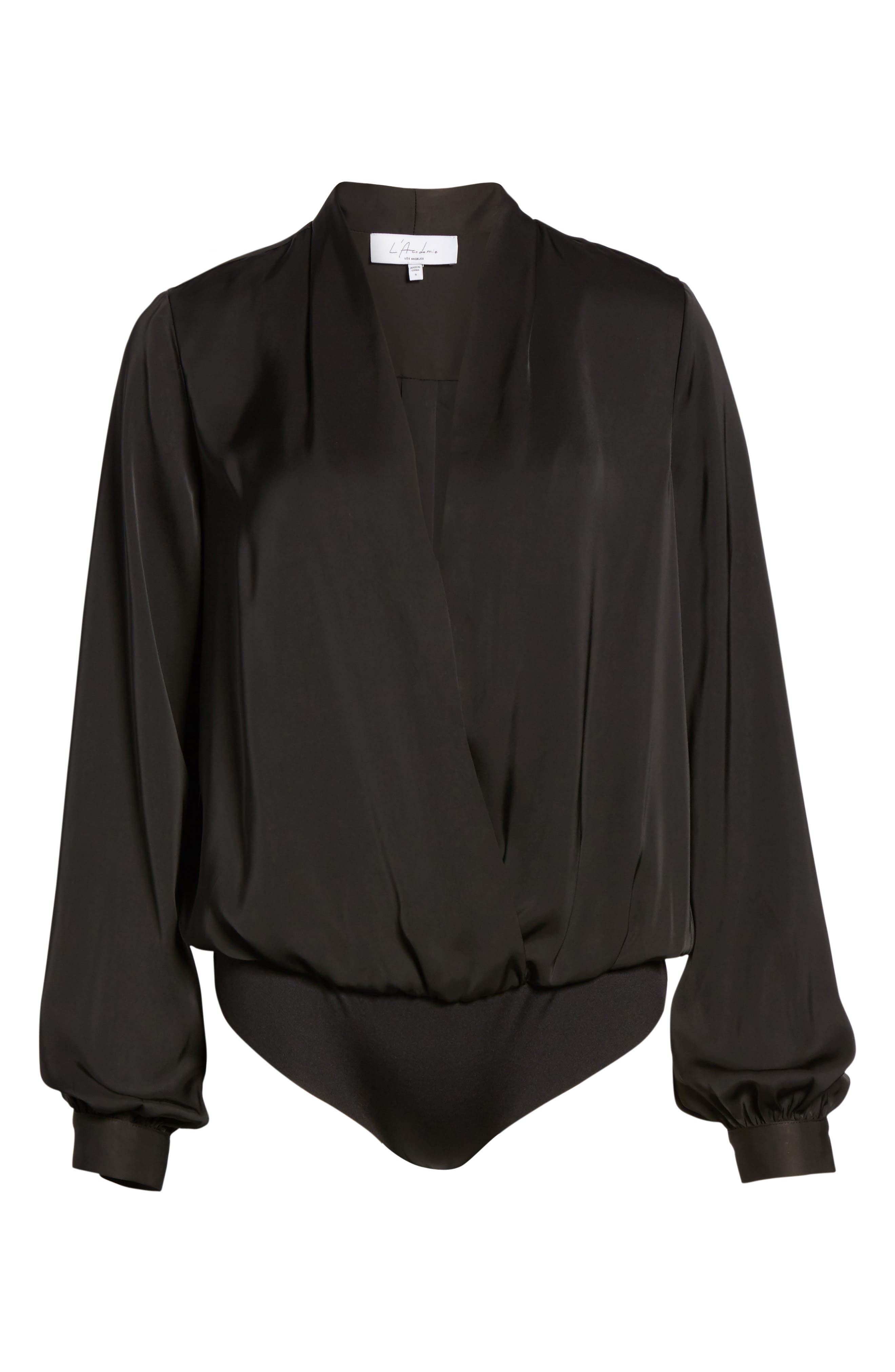L'Academie The Long Sleeve Bodysuit,                             Alternate thumbnail 6, color,                             Black