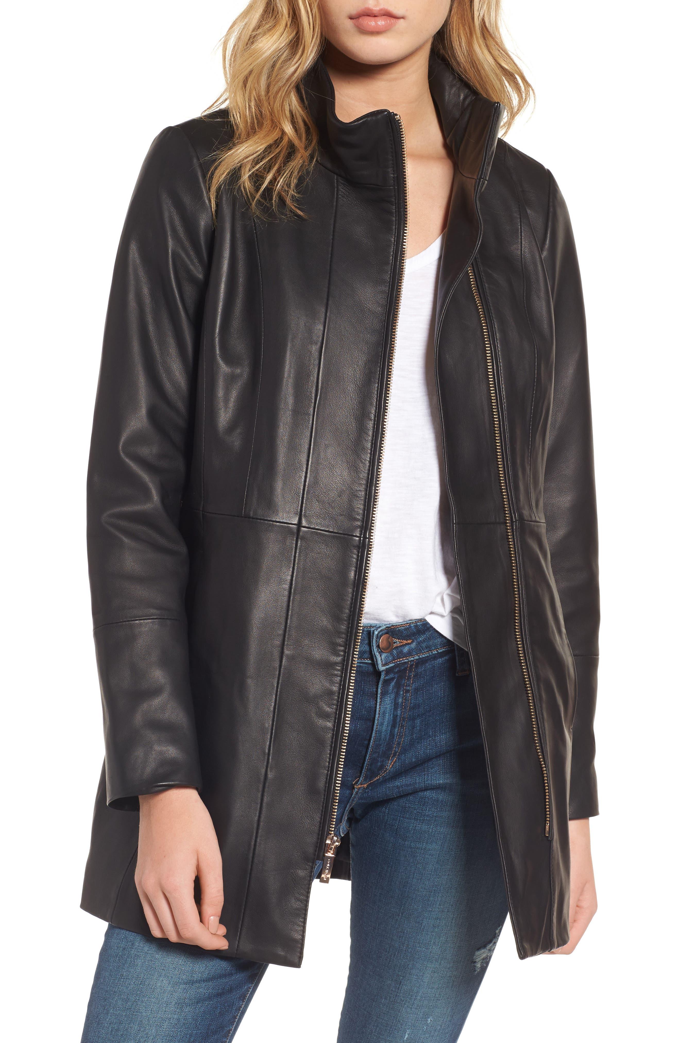 Leather Car Coat,                             Main thumbnail 1, color,                             Black