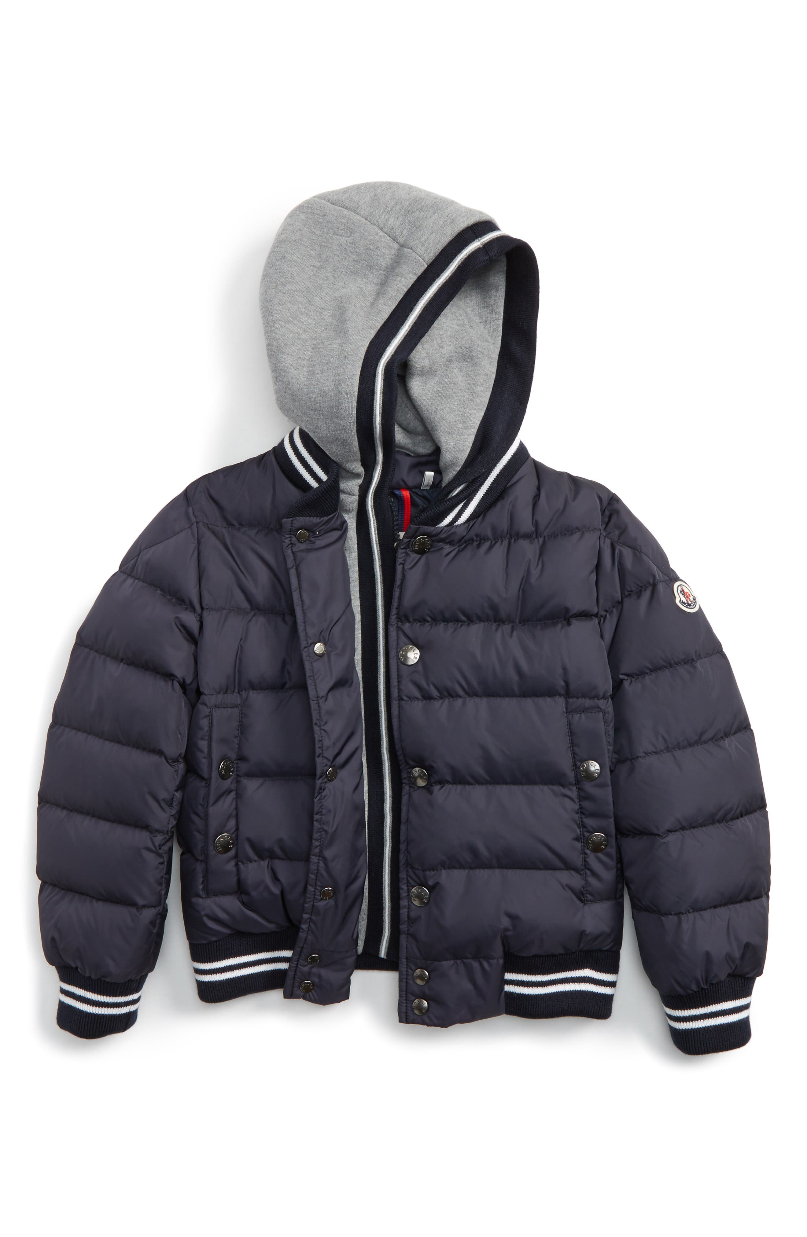Auberie Hooded Water Resistant Down Varsity Jacket,                             Main thumbnail 1, color,                             Navy