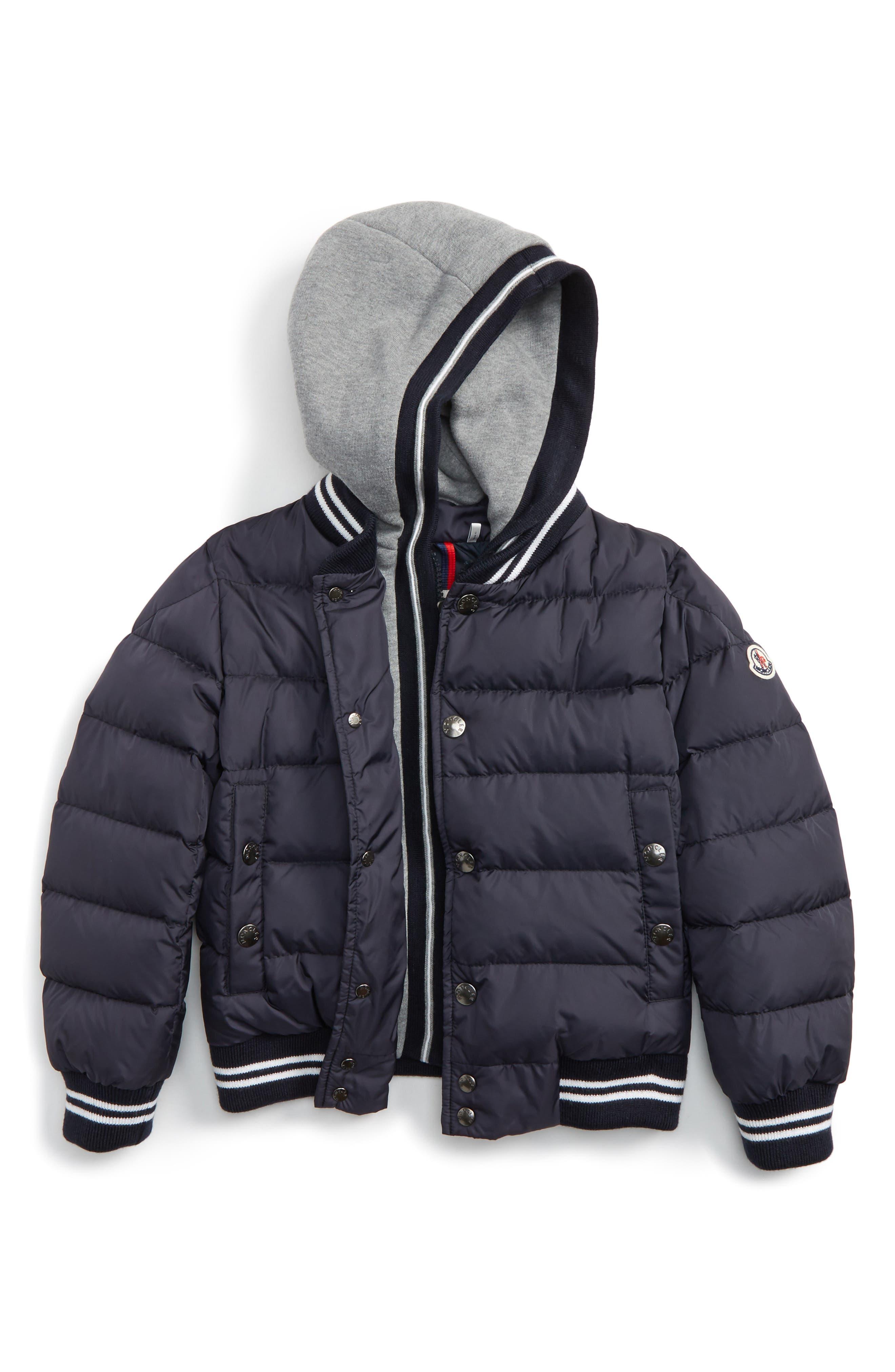 Auberie Hooded Water Resistant Down Varsity Jacket,                         Main,                         color, Navy