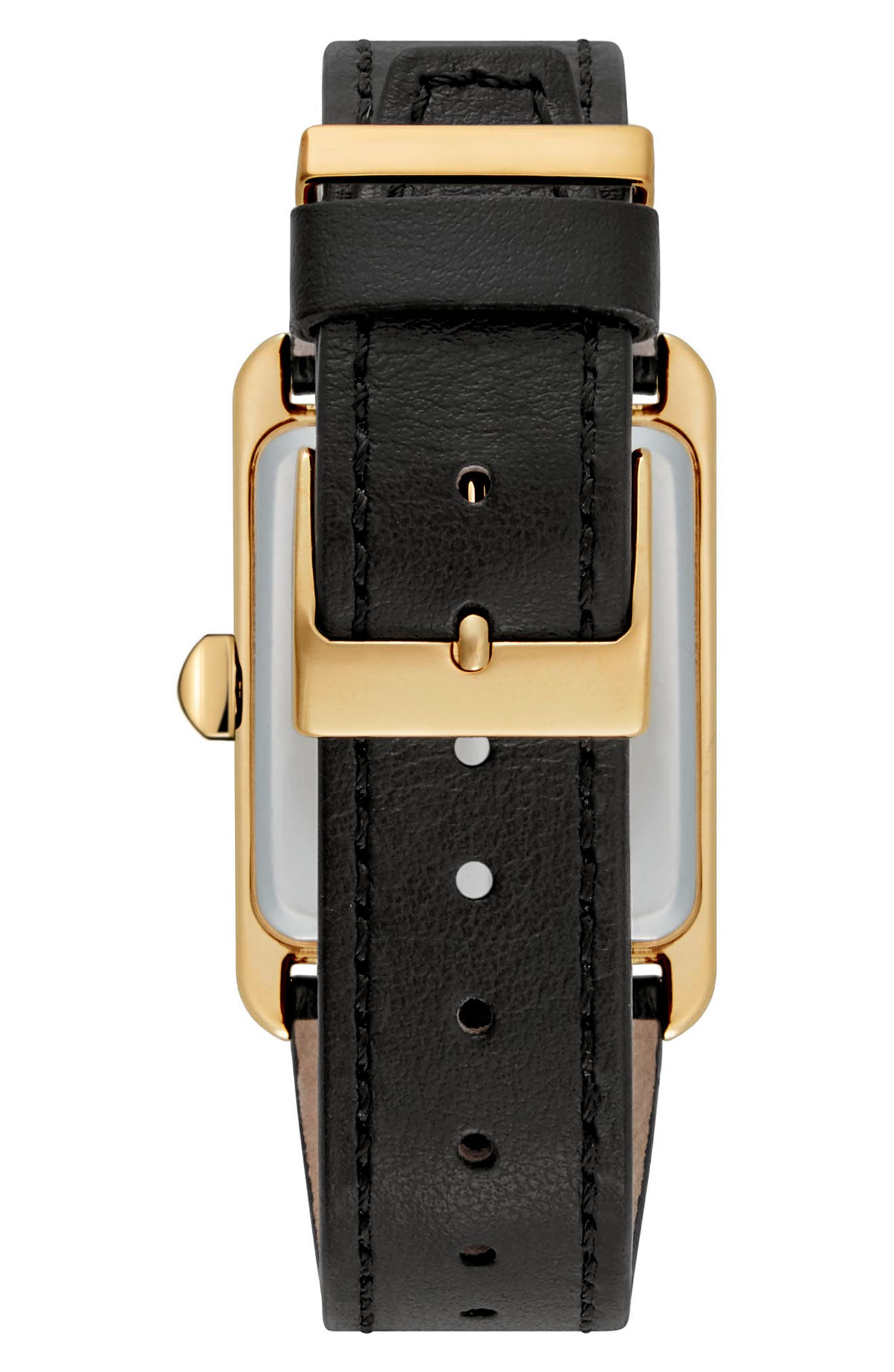 Moment Leather Strap Watch, 27mm x 39mm,                             Alternate thumbnail 2, color,                             Black/ Gold