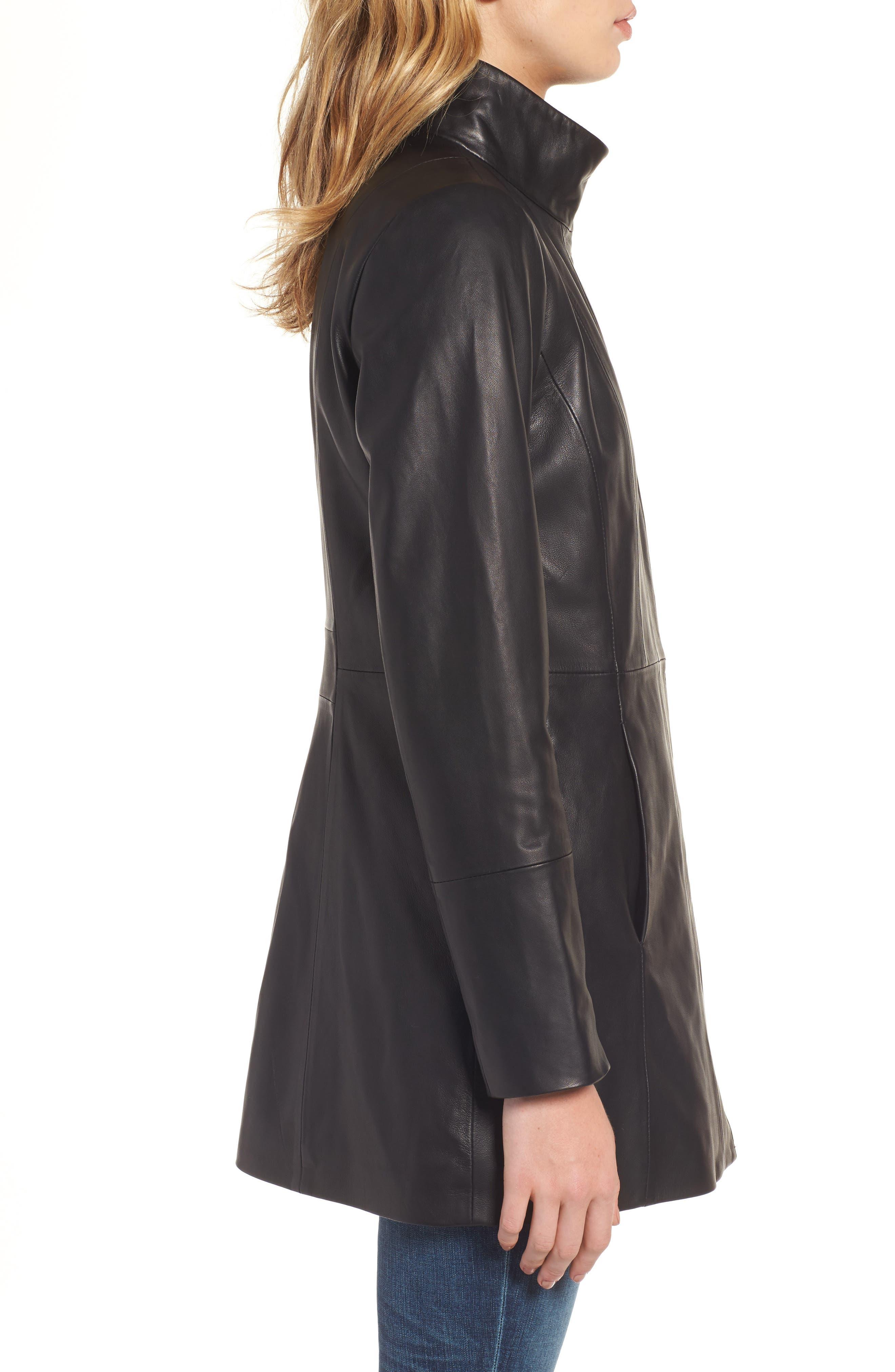Leather Car Coat,                             Alternate thumbnail 3, color,                             Black