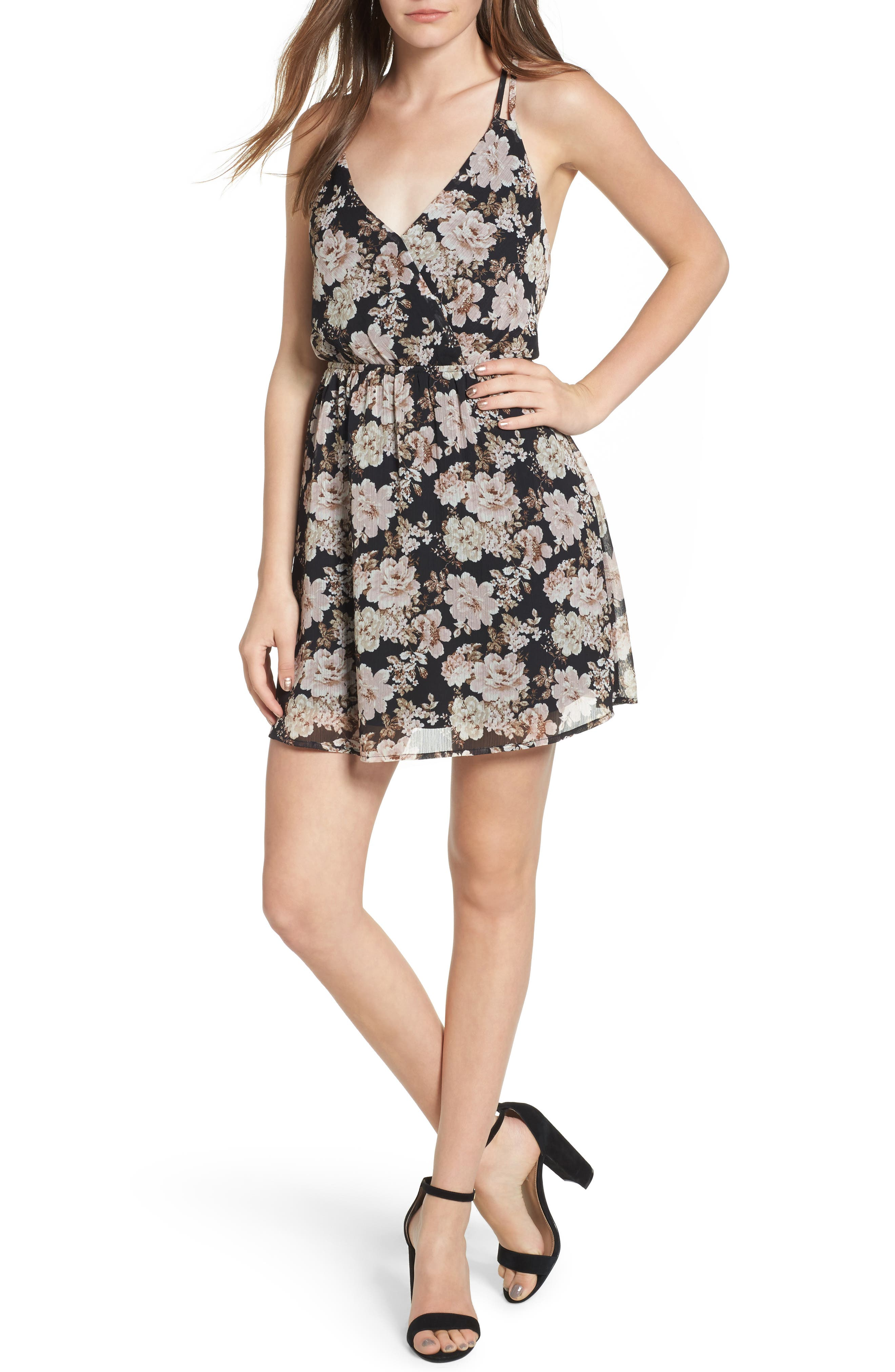 Floral Print Cross Back Dress,                         Main,                         color, Black Vintage Floral