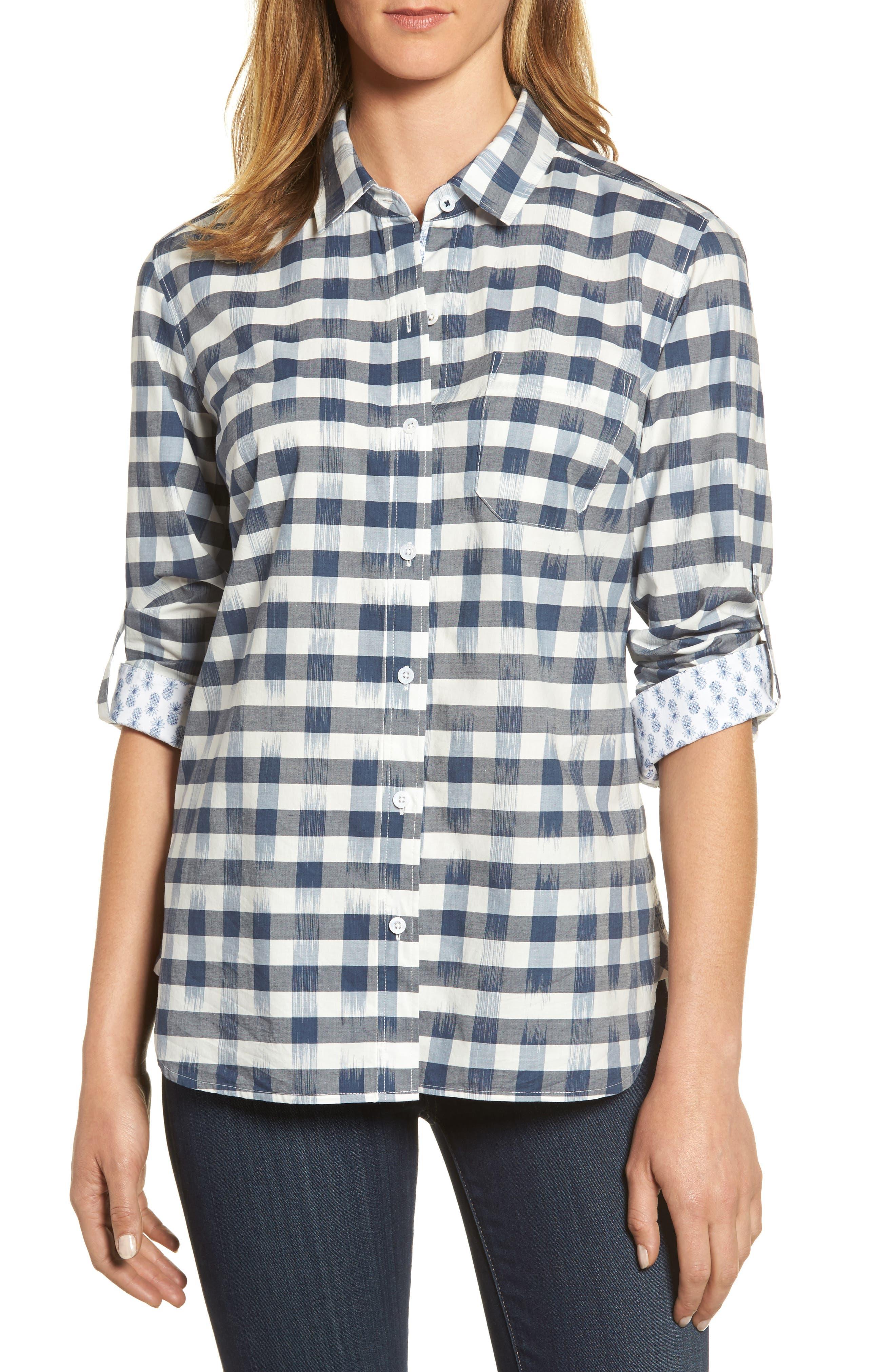 Fragmented Gingham Shirt,                         Main,                         color, Ocean Deep