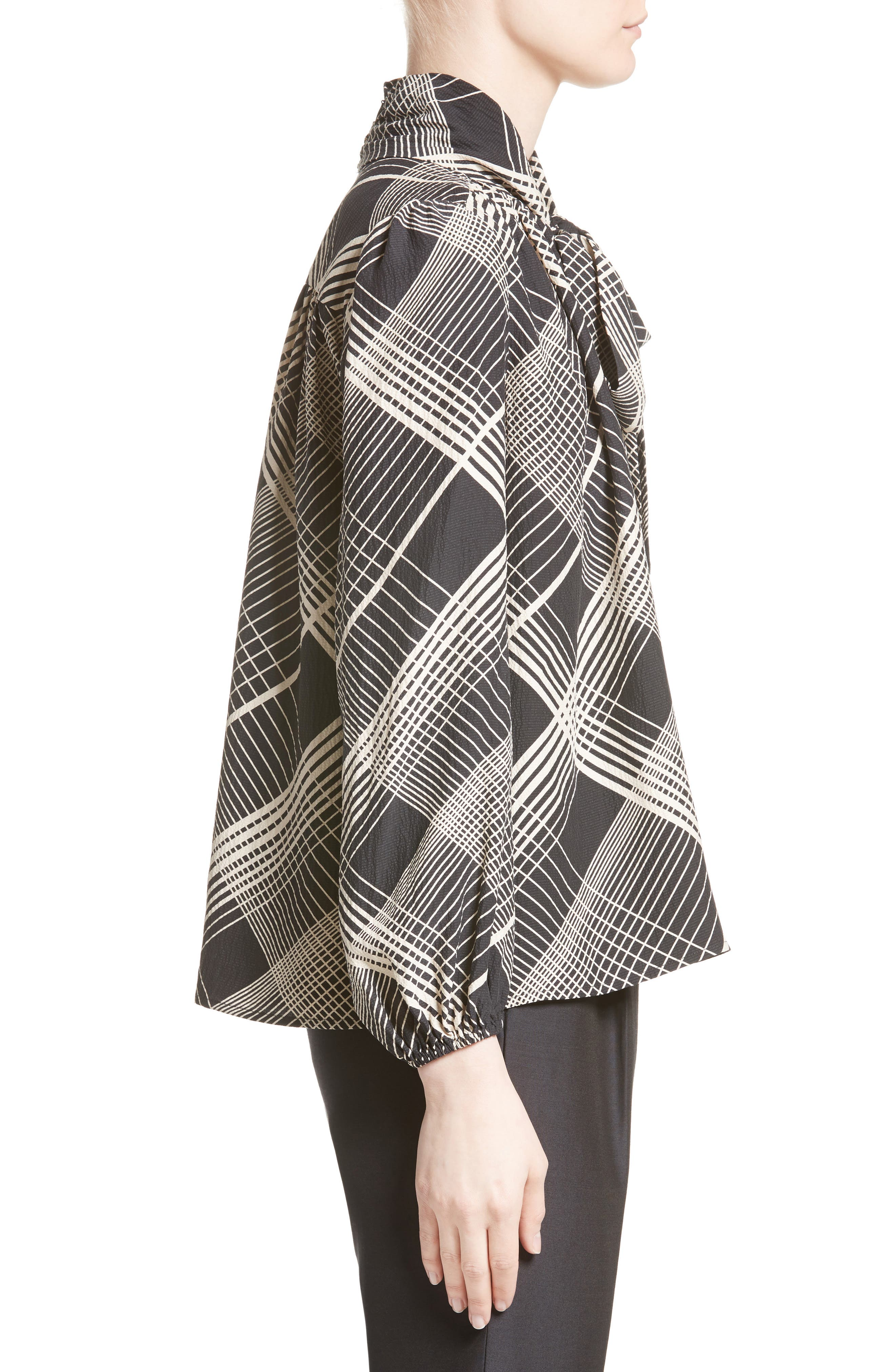 Plaid Silk Tie Neck Blouse,                             Alternate thumbnail 5, color,                             Black/ White Plaid