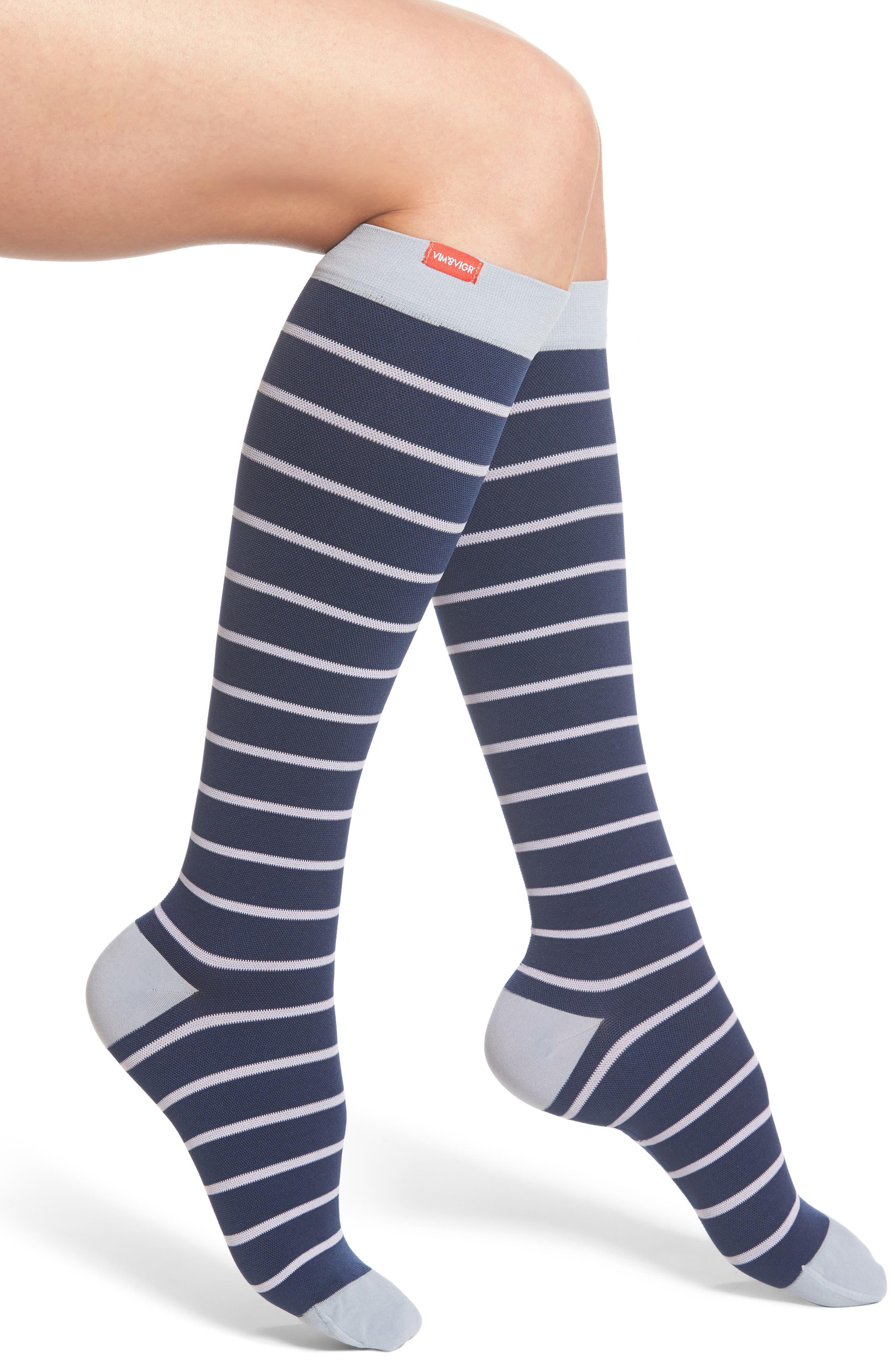 Nautical Stripe Graduated Compression Trouser Socks,                             Main thumbnail 1, color,                             Blue/ Lavender