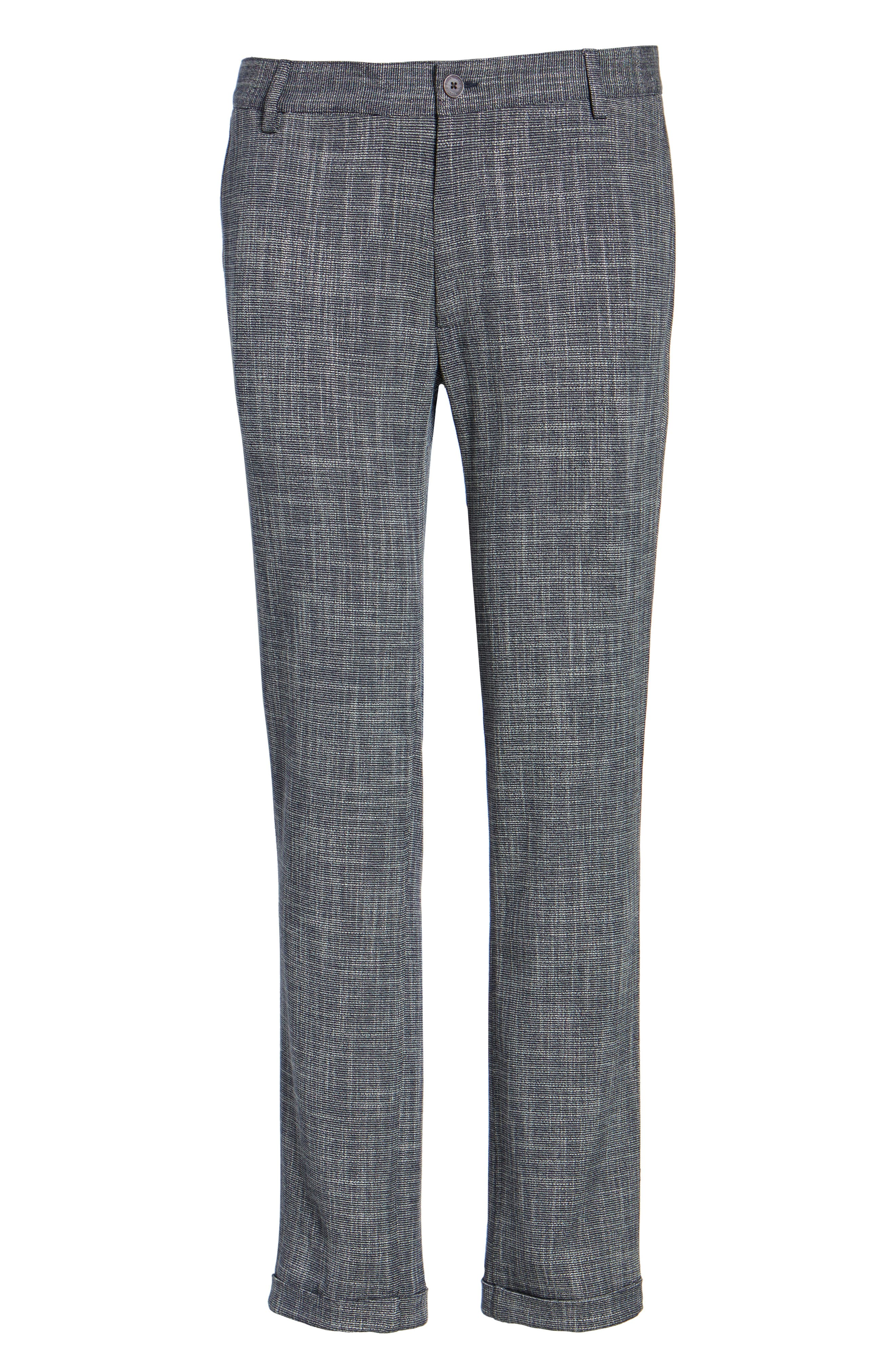 Slim Fit Cuffed Pants,                             Alternate thumbnail 5, color,                             Navy Scratch Weave