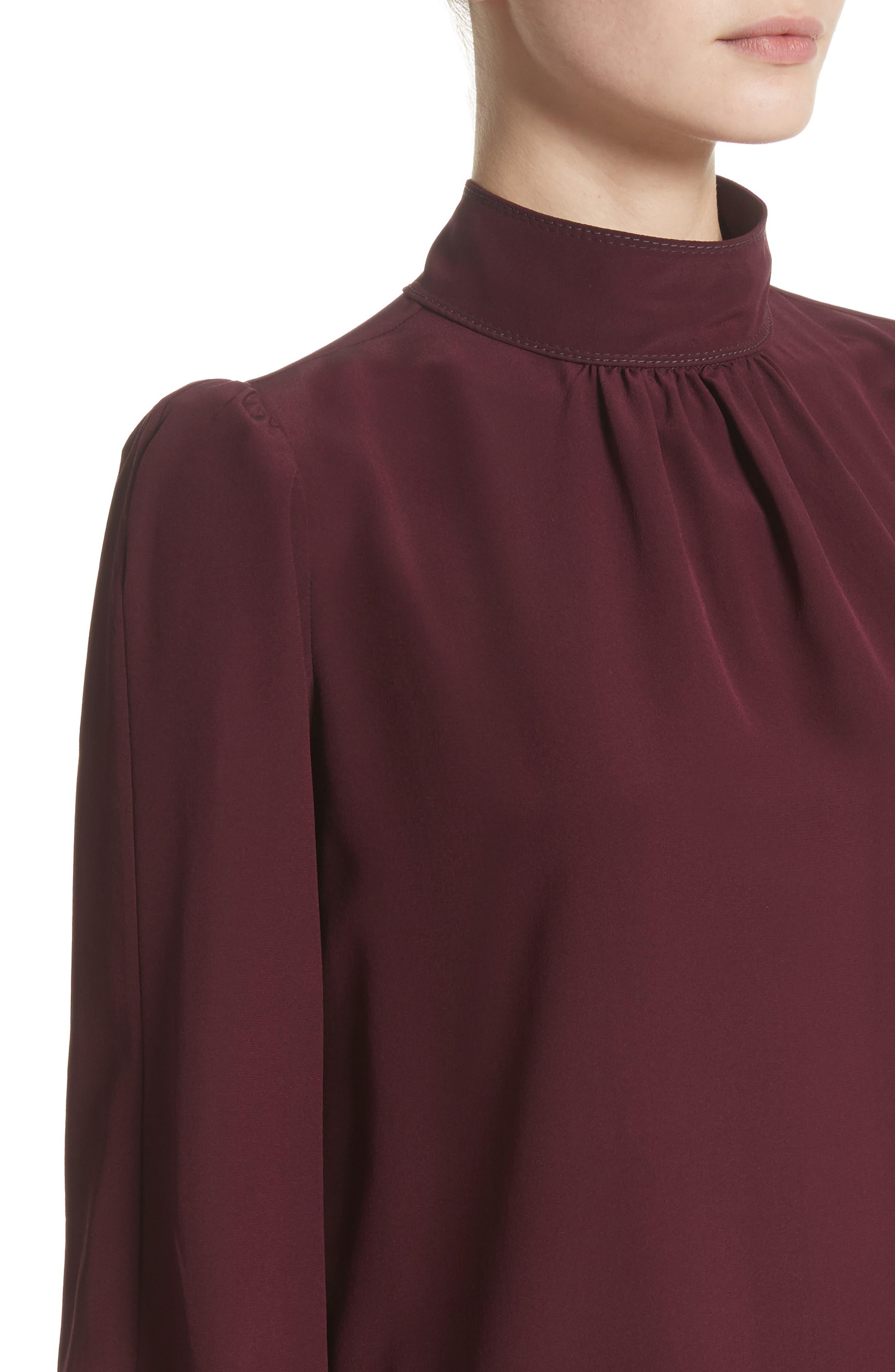 Bishop Sleeve Silk Crêpe de Chine Blouse,                             Alternate thumbnail 6, color,                             Bordeaux
