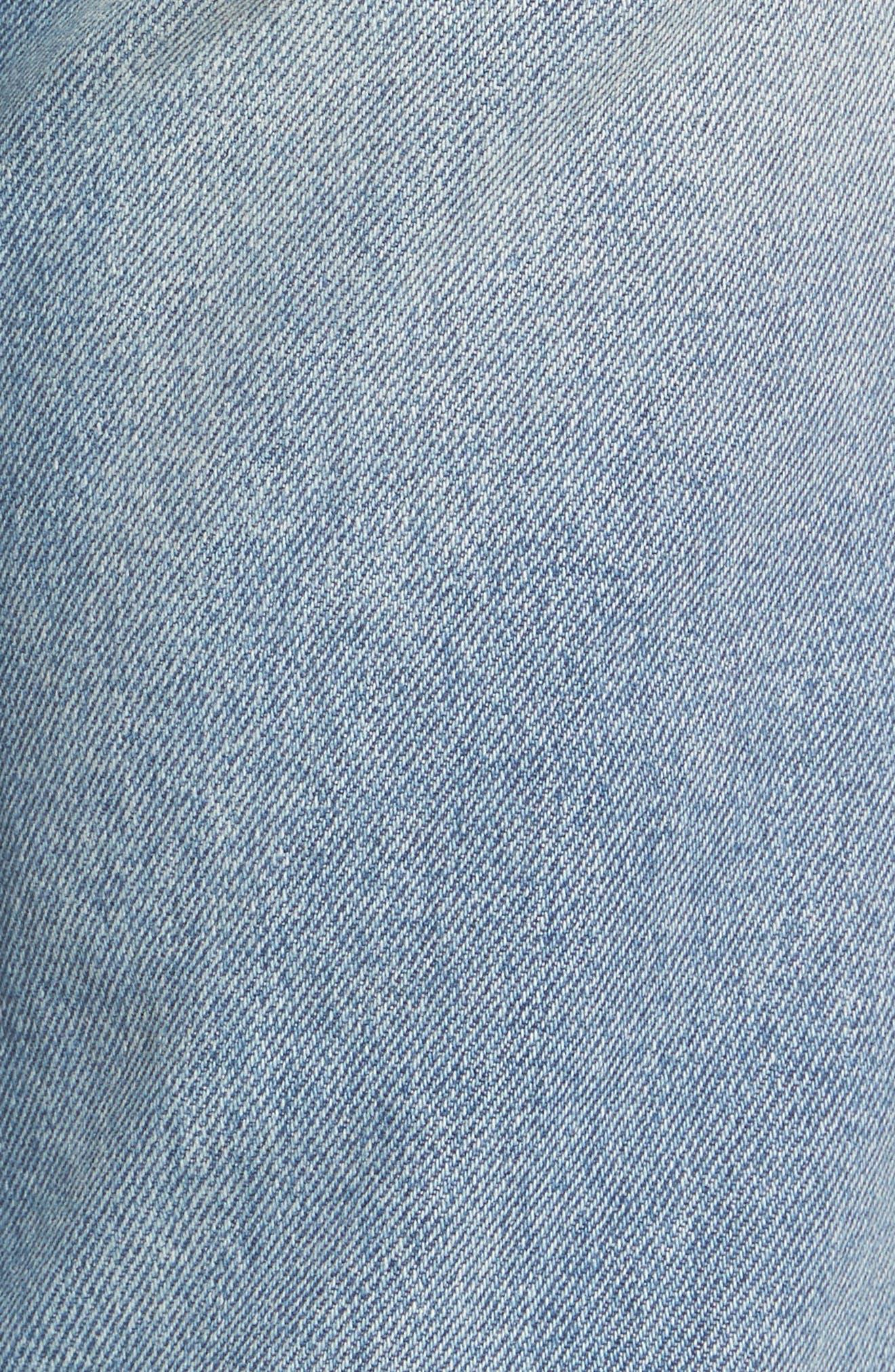 Sundays Straggler High Waist Jeans,                             Alternate thumbnail 5, color,                             Bleached Indigo
