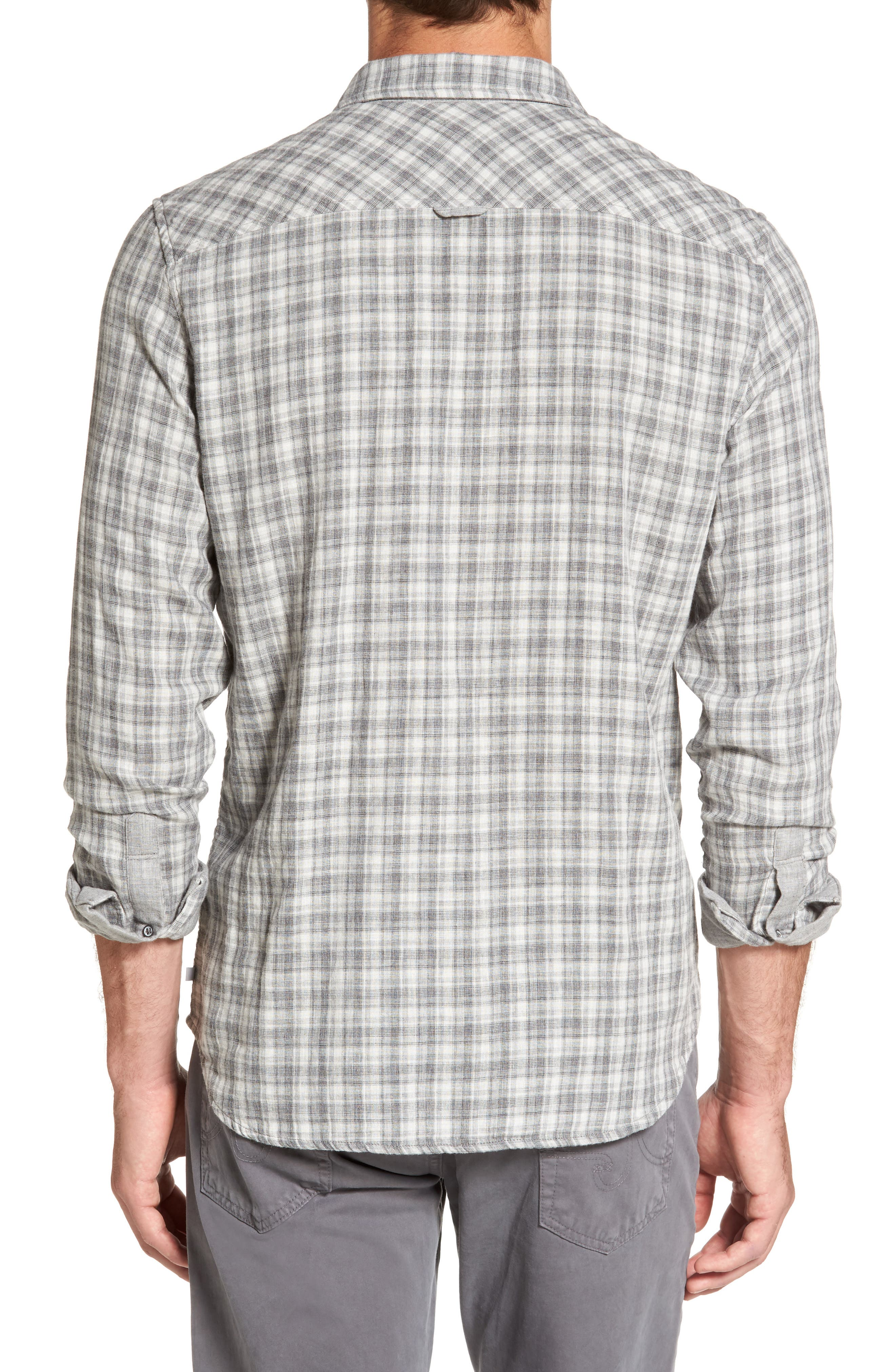 Grady Plaid Sport Shirt,                             Alternate thumbnail 2, color,                             Dlp Heather Grey/ White