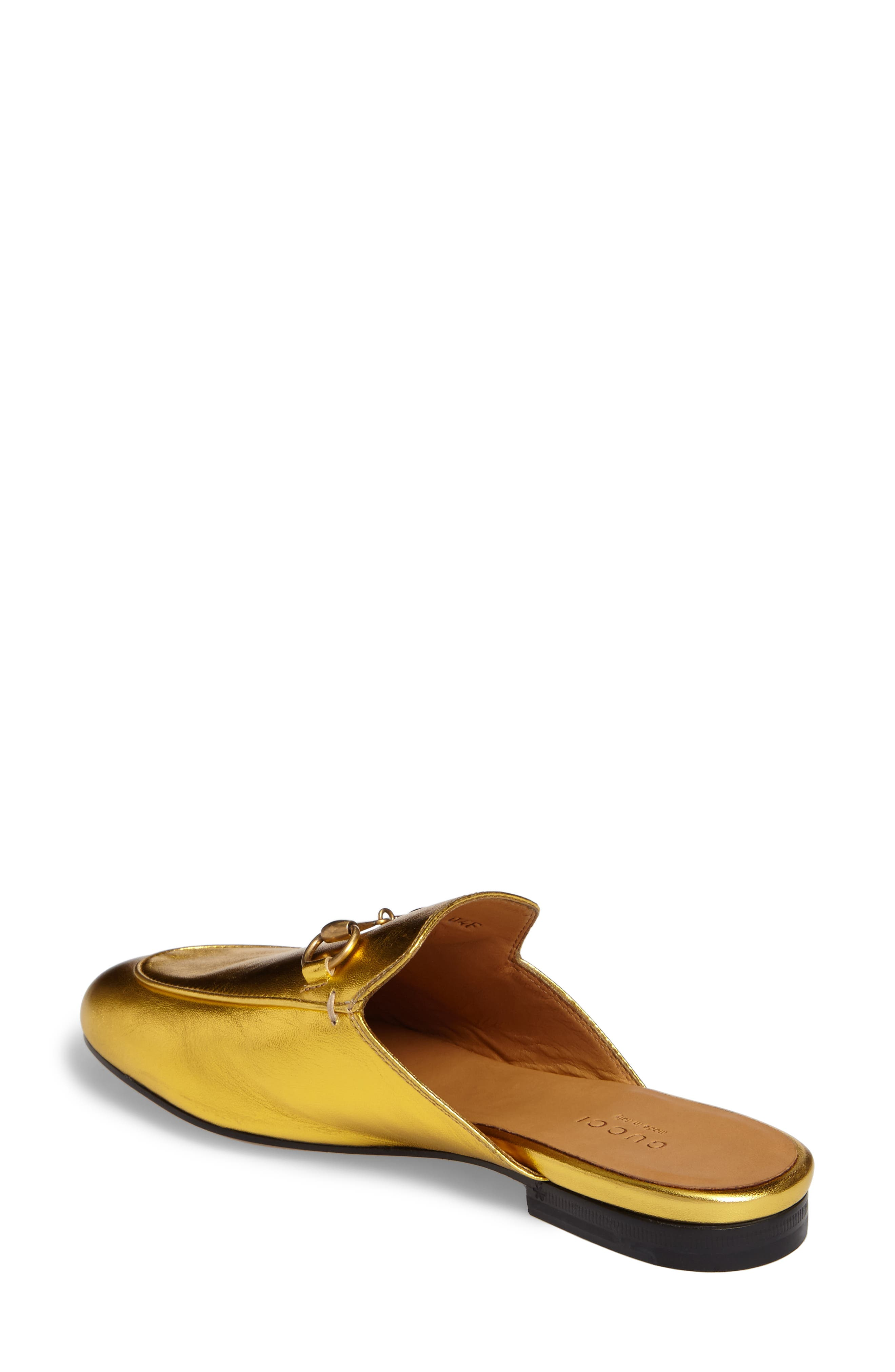 Princetown Loafer Mule,                             Alternate thumbnail 2, color,                             Metallic Gold Leather