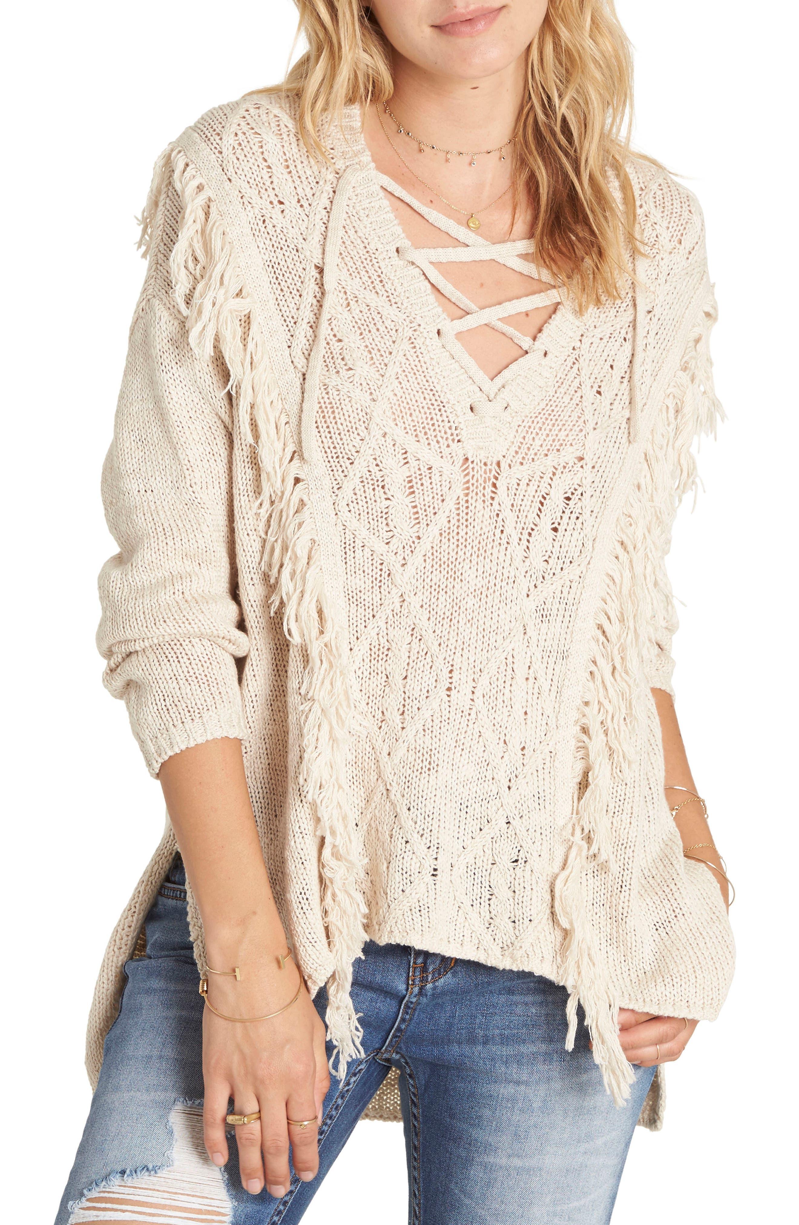 Billabong Beach Nights Lace-Up Fringe Knit Sweater