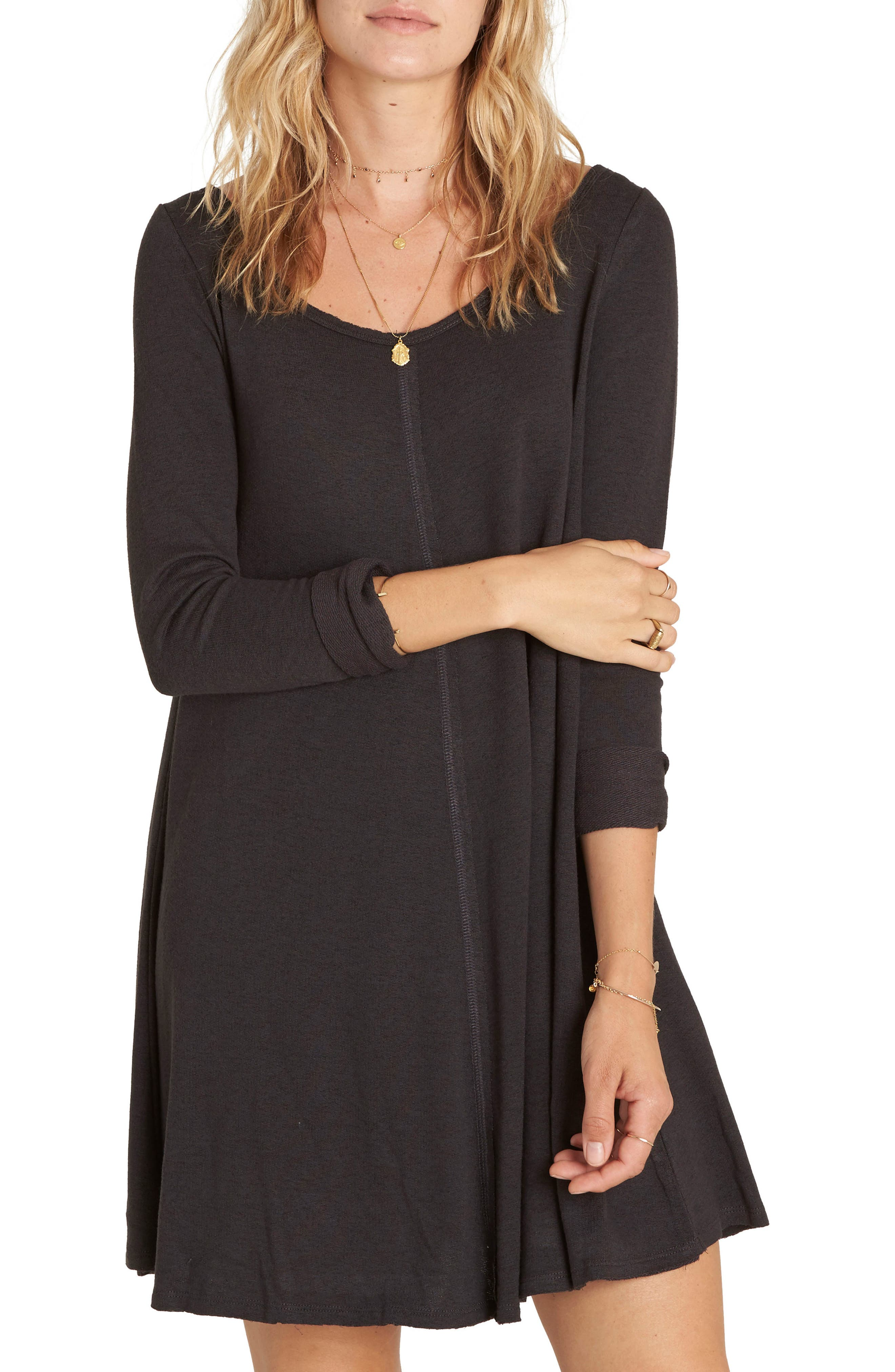 Another Day Swing Dress,                         Main,                         color, Off Black