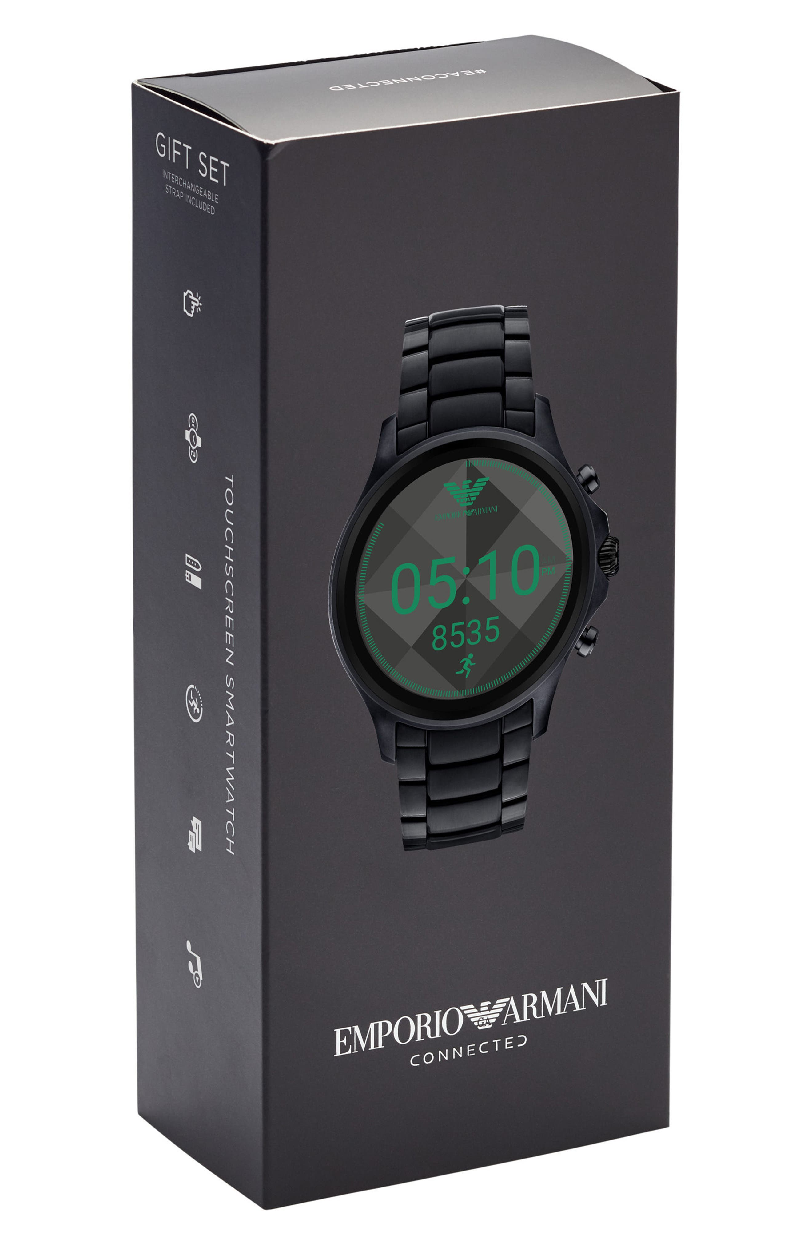 Touchscreen Bracelet Smartwatch, 46mm,                             Alternate thumbnail 5, color,                             Black/ Black