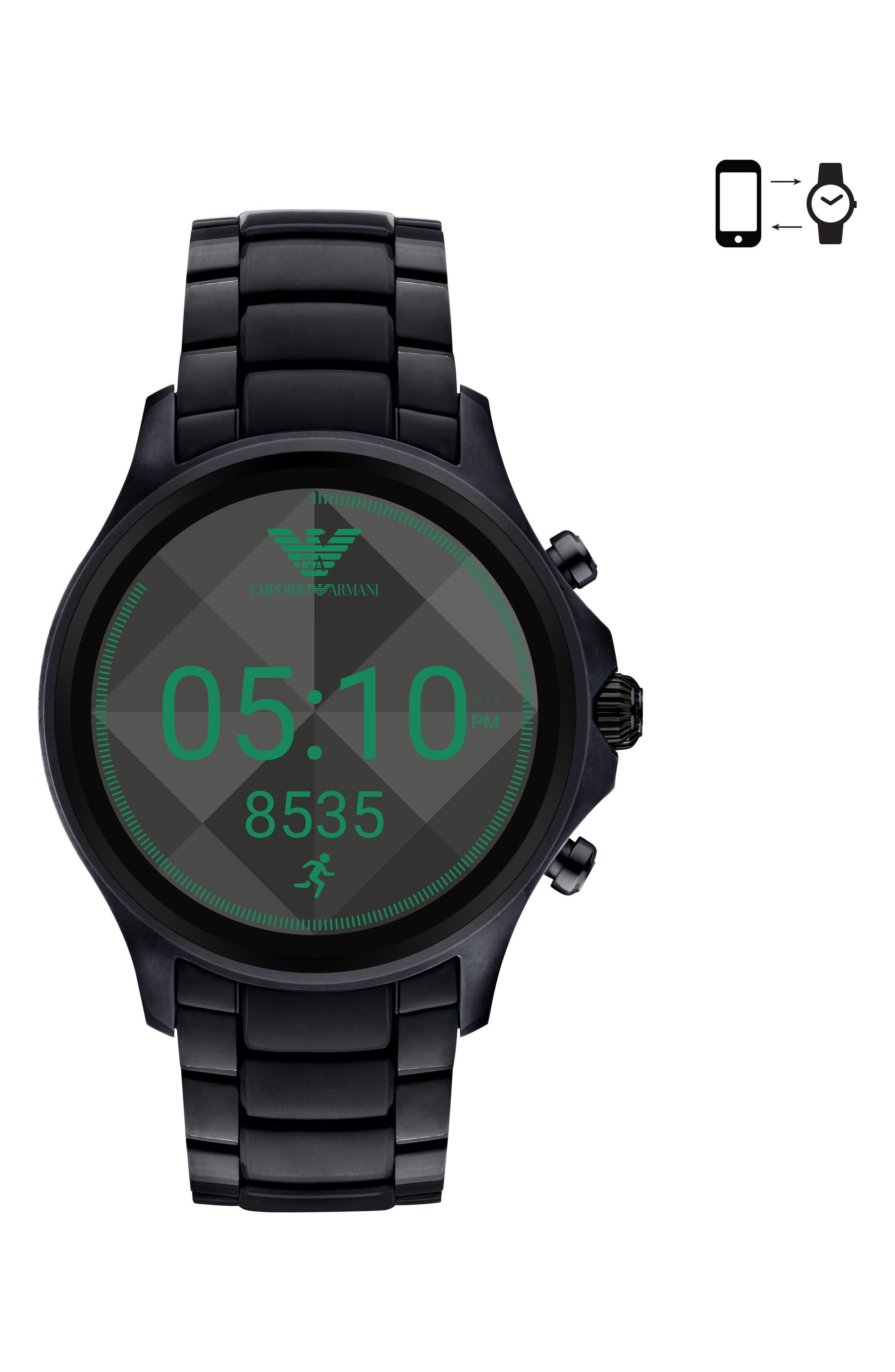 Touchscreen Bracelet Smartwatch, 46mm,                             Main thumbnail 1, color,                             Black/ Black