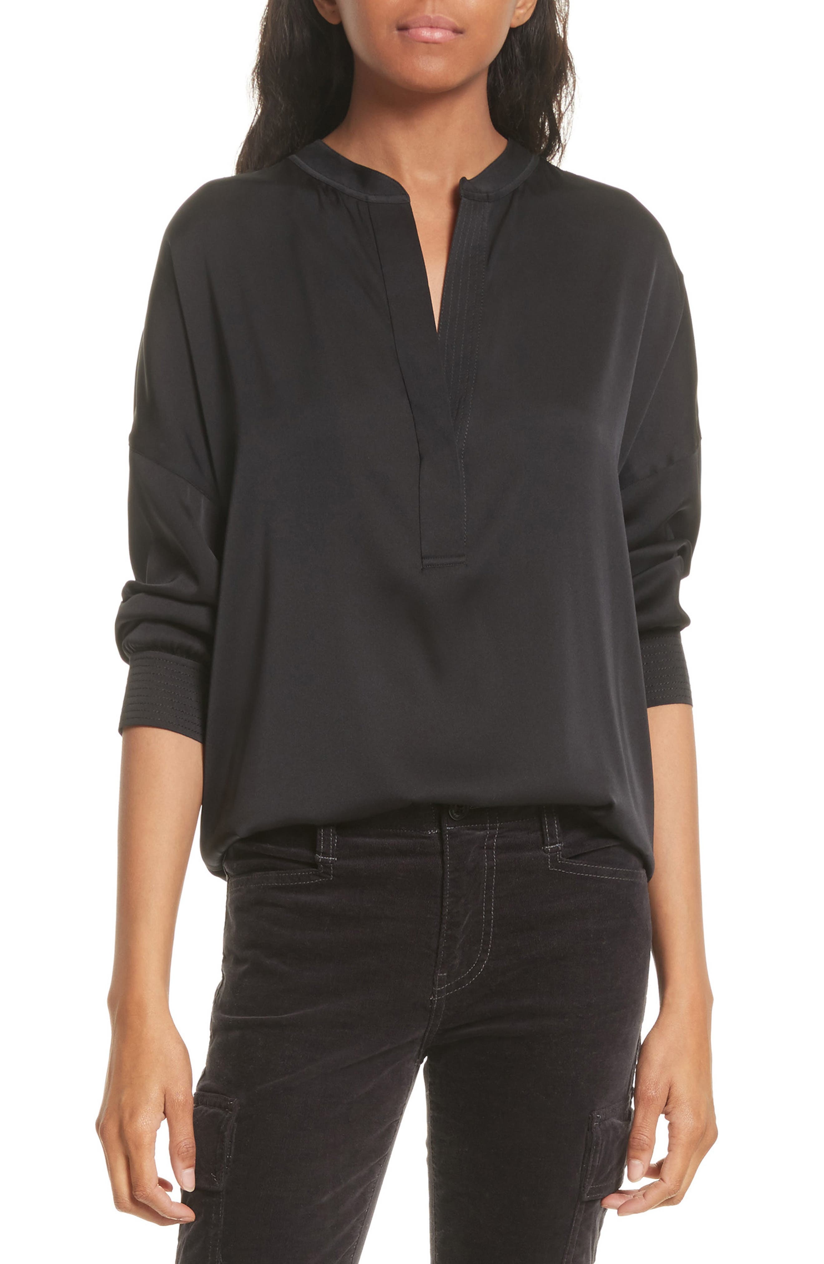 Shirred Stretch Silk Blouse,                         Main,                         color, Black