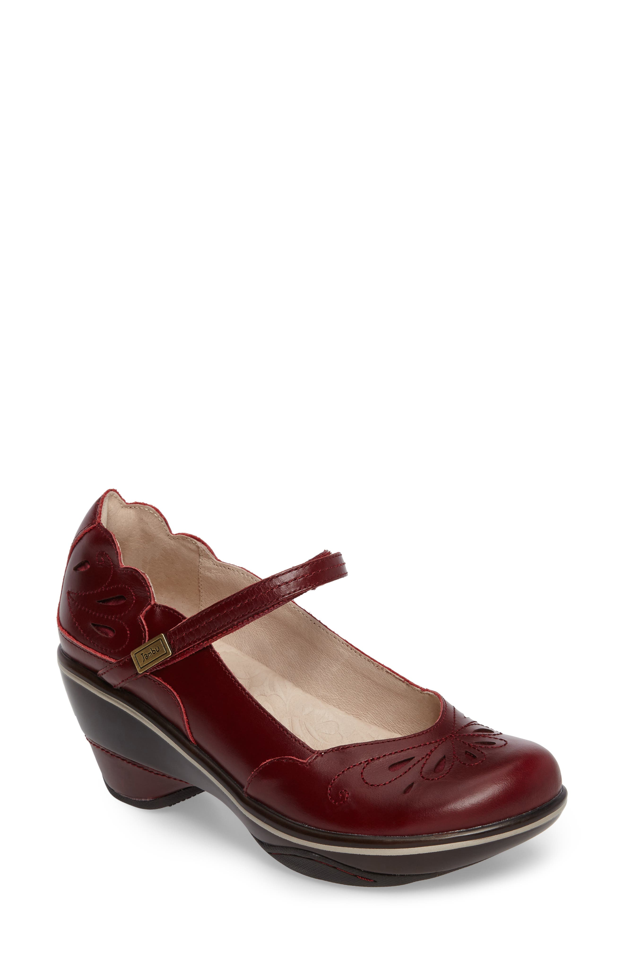 'Bombay' Pump,                             Main thumbnail 1, color,                             Red Leather