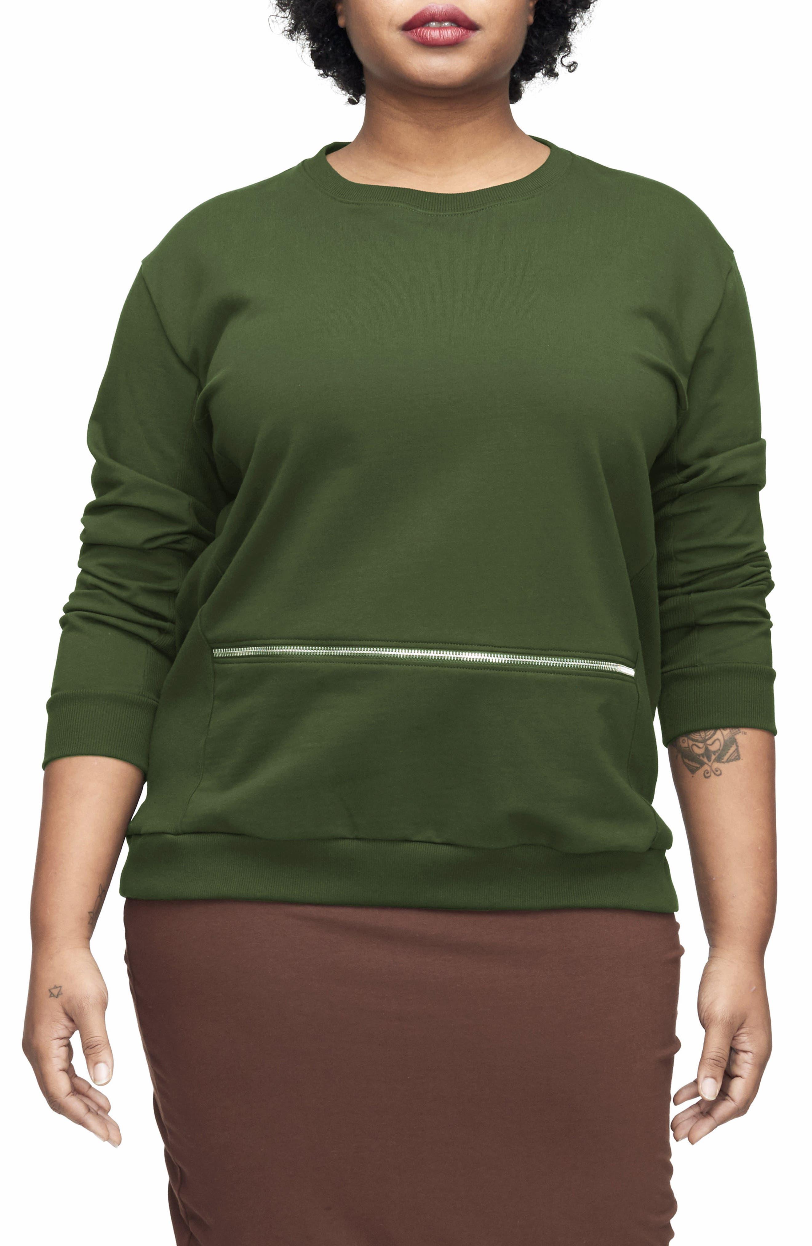Main Image - UNIVERSAL STANDARD Equator Zip Trim Sweatshirt (Plus Size)