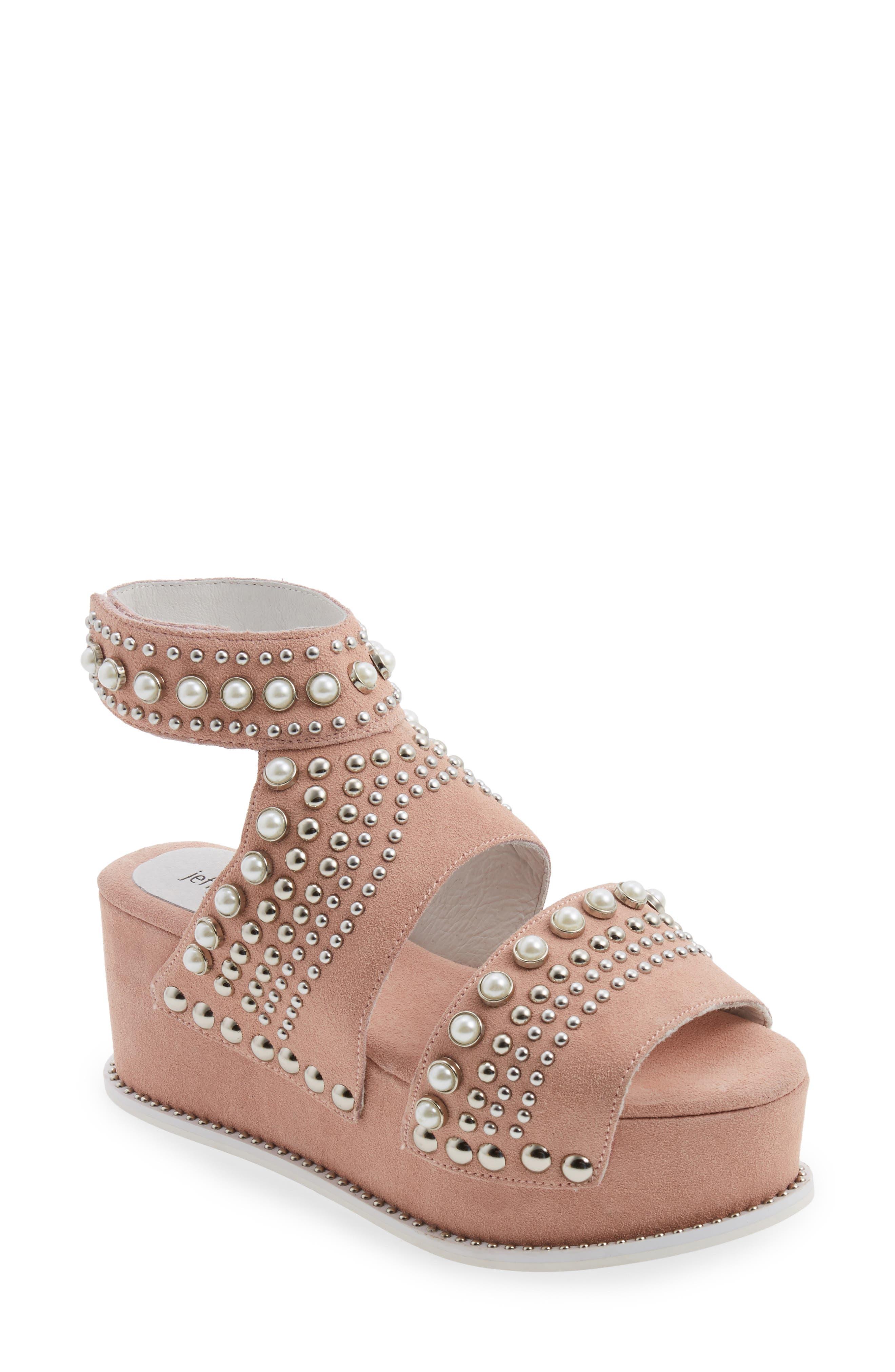 Palmira Embellished Platform Sandal,                         Main,                         color, Pink Suede