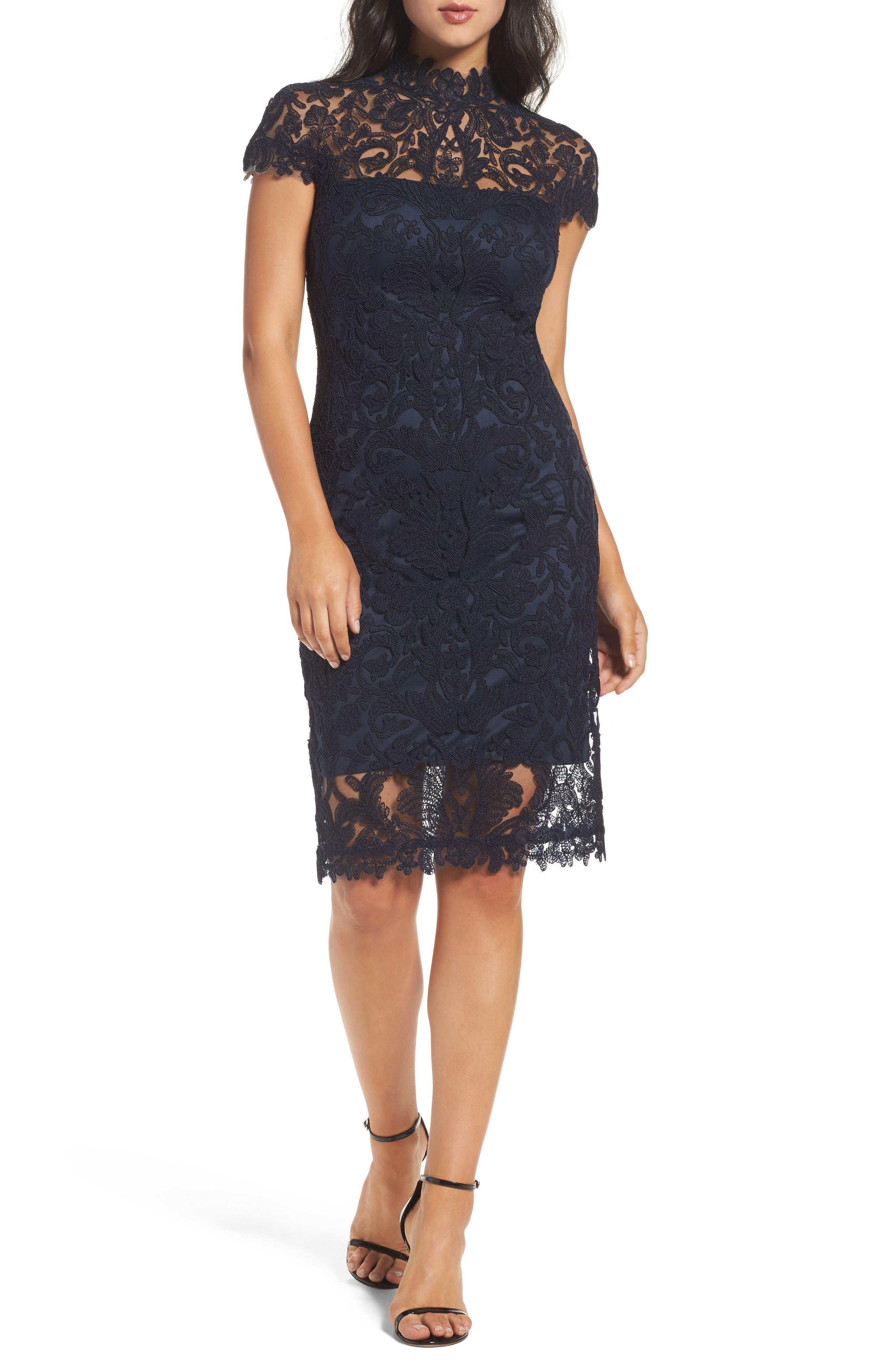 Mock Neck Corded Tulle Sheath Dress,                         Main,                         color, Navy