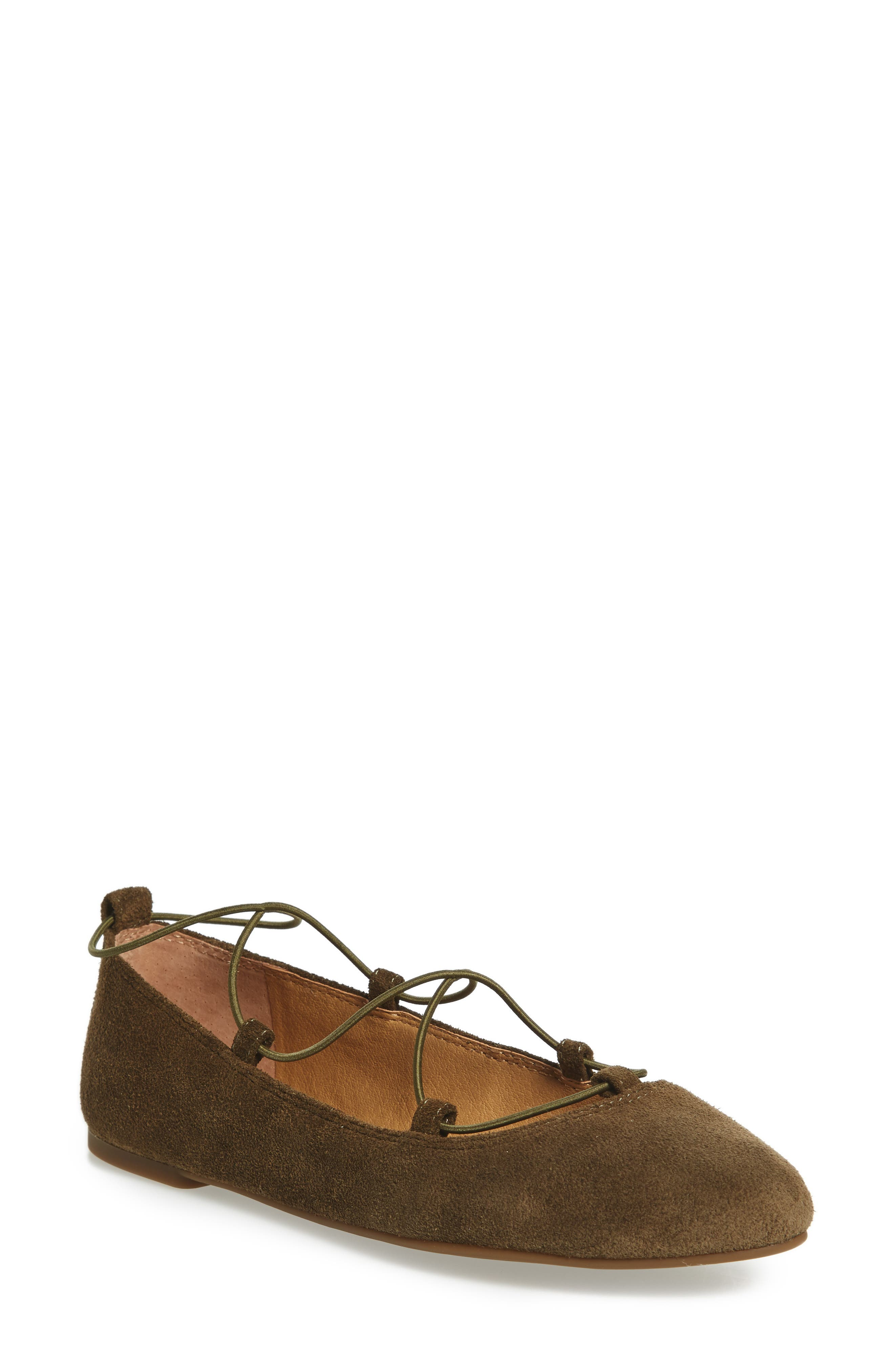 'Aviee' Lace-Up Flat,                             Main thumbnail 1, color,                             Ivy Green Suede