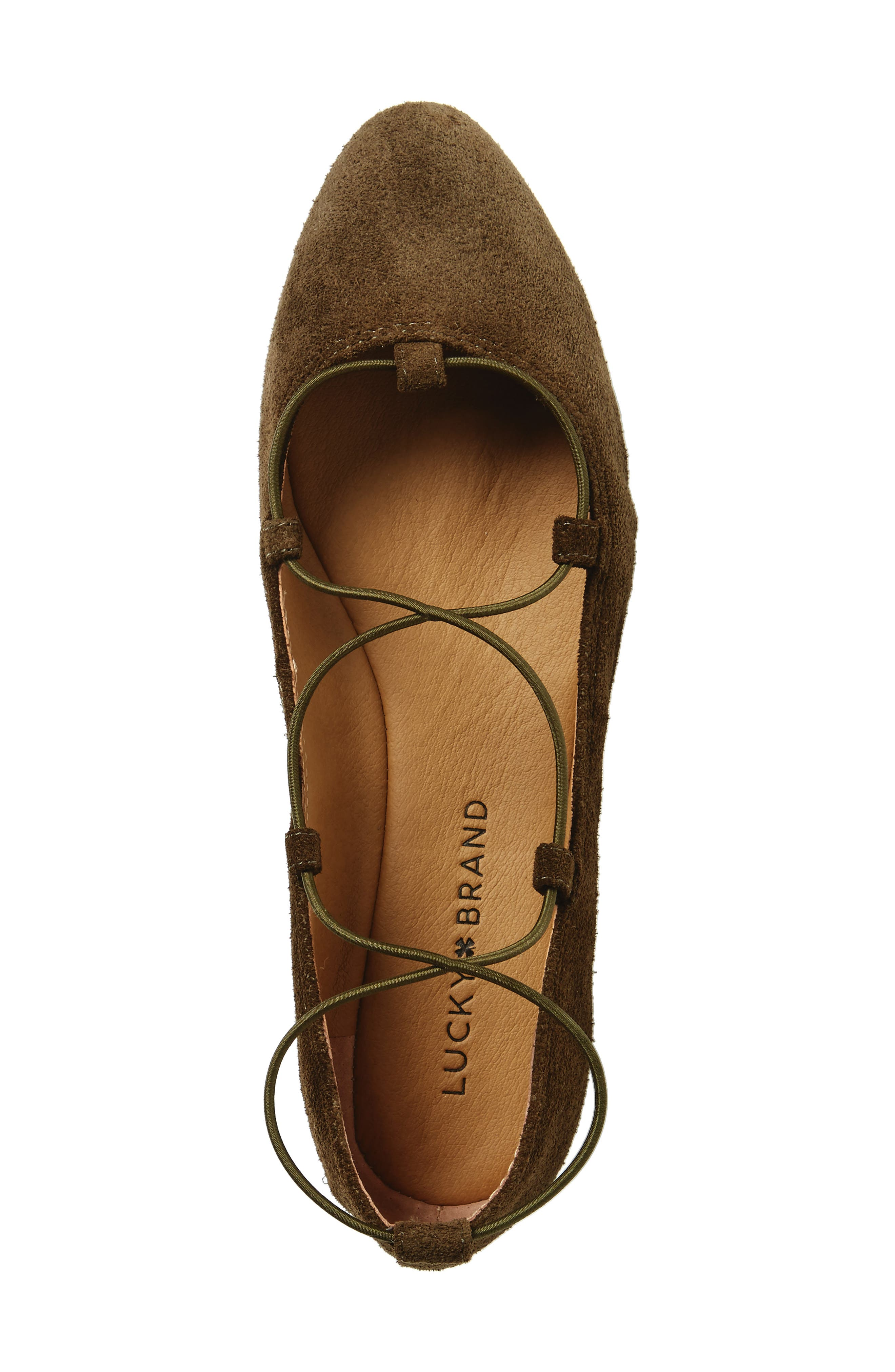 'Aviee' Lace-Up Flat,                             Alternate thumbnail 5, color,                             Ivy Green Suede