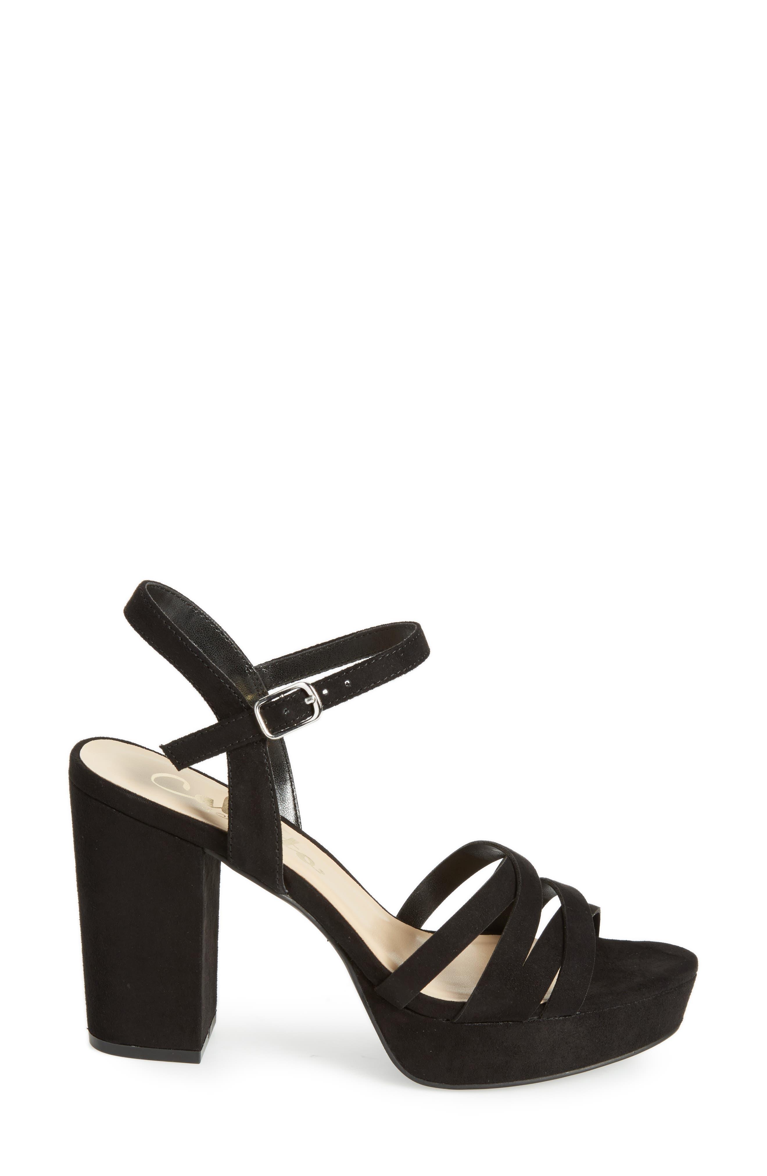 Paxx Platform Sandal,                             Alternate thumbnail 3, color,                             Black Faux Suede