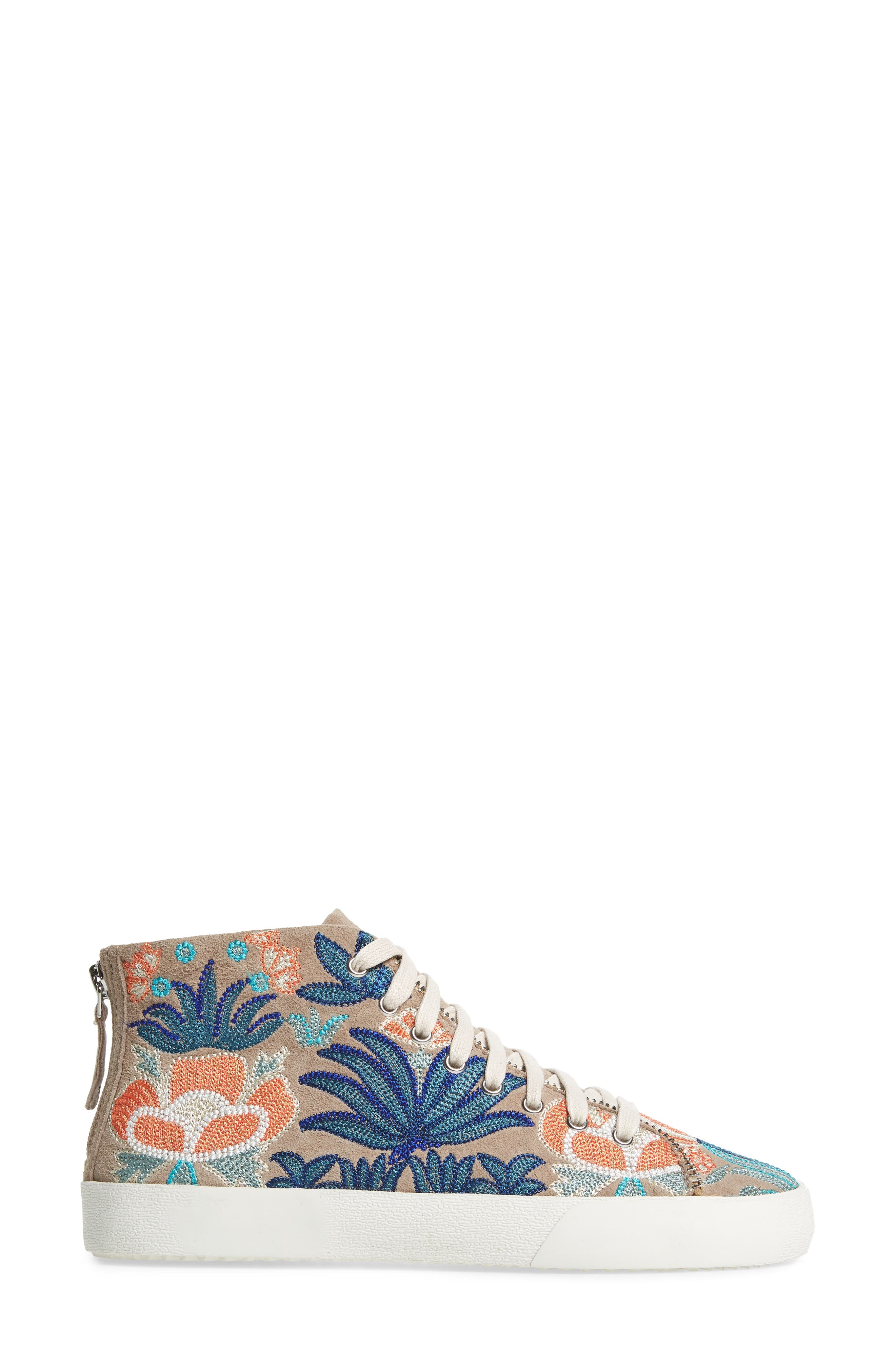 Zaina Embroidered Sneaker,                             Alternate thumbnail 3, color,                             Sand