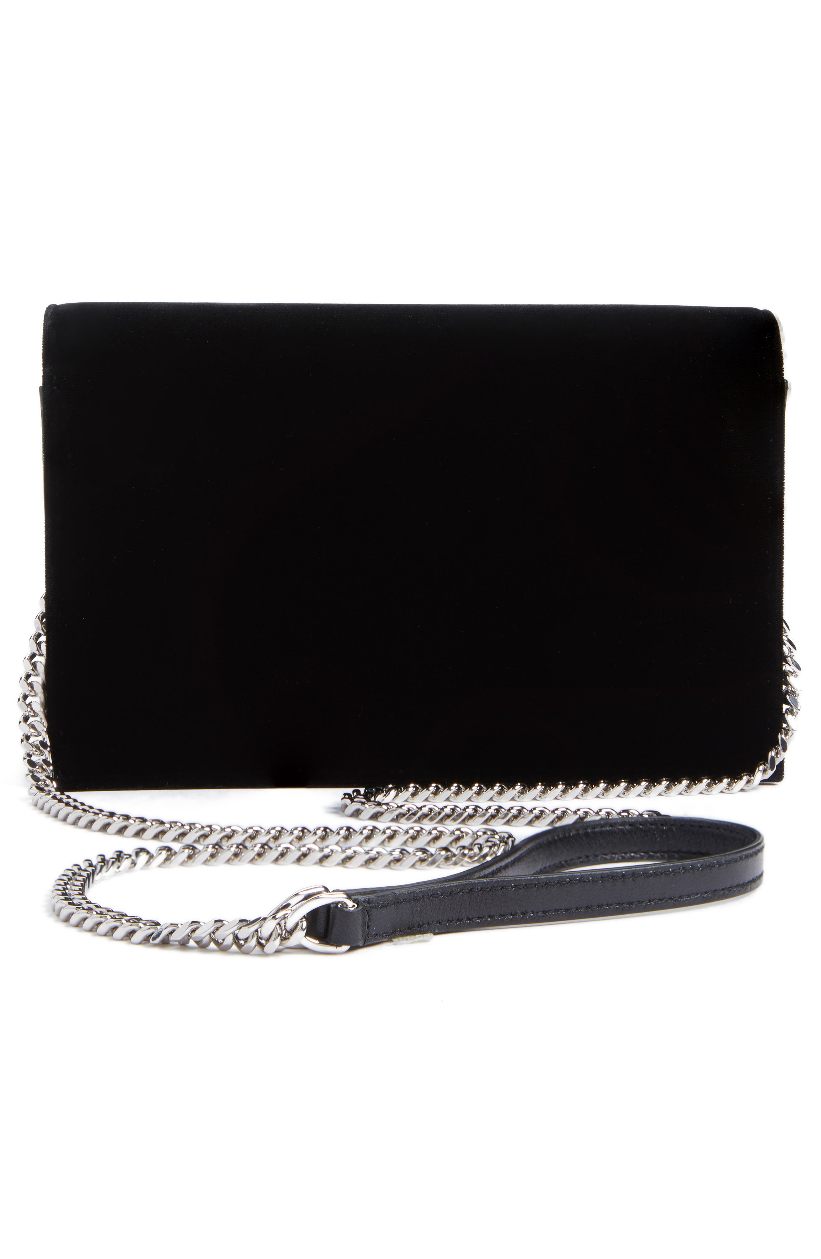 Small Kate Crystal Logo Wallet on a Chain,                             Alternate thumbnail 3, color,                             Noir/ Crystal