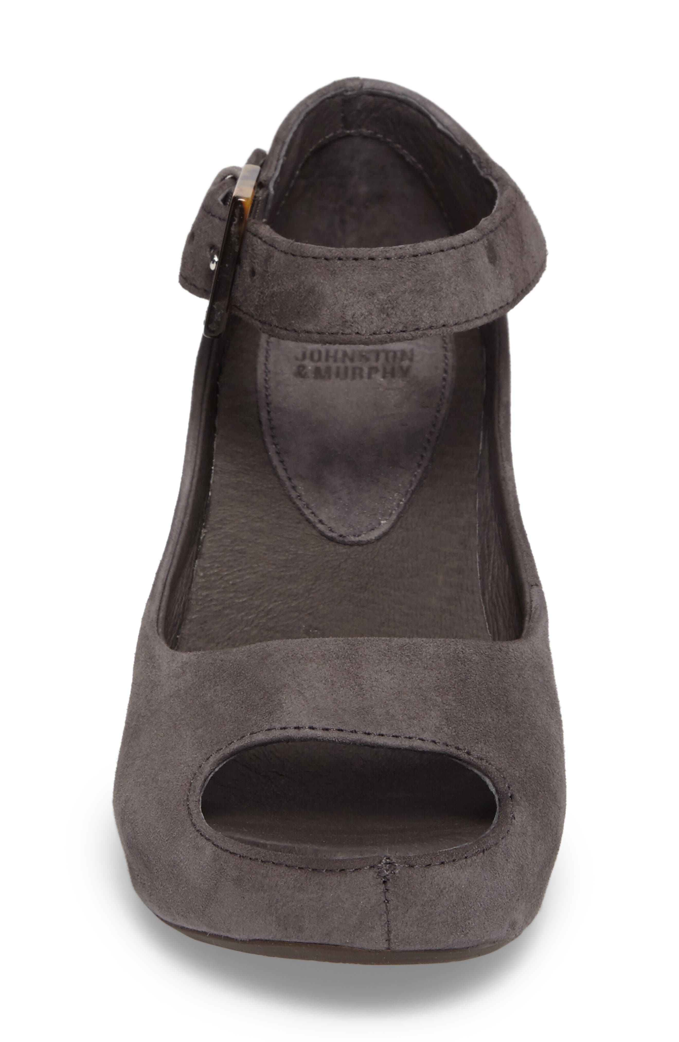 'Tricia' Ankle Strap Sandal,                             Alternate thumbnail 5, color,                             Gray Suede