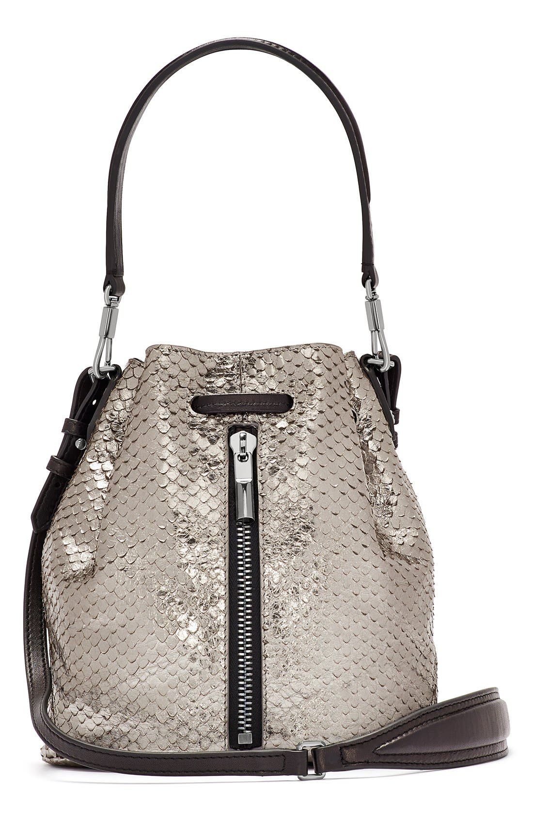 Main Image - Elizabeth and James 'Mini Cynnie' Snake Effect Leather Convertible Bucket Bag