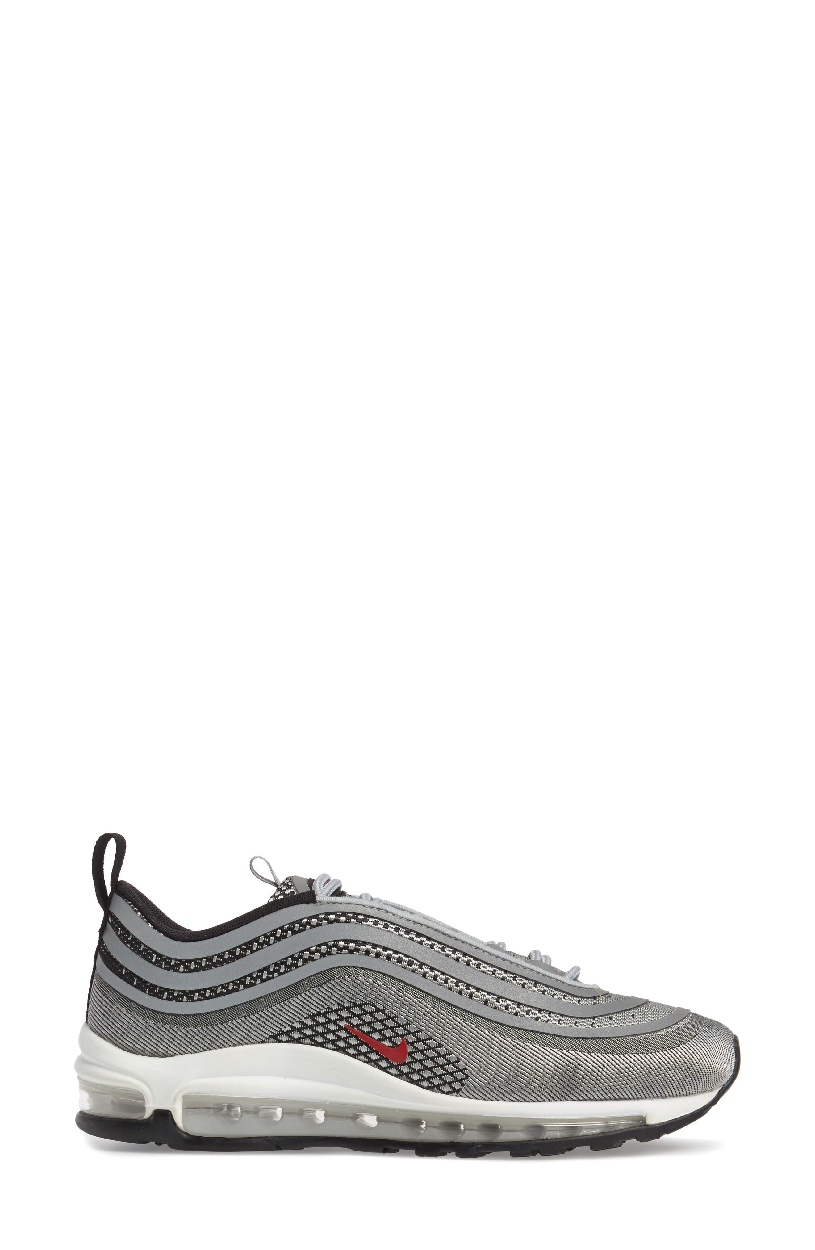 Air Max 97 Ultralight 2017 Sneaker,                             Alternate thumbnail 3, color,                             Metallic Silver/ Varsity Red