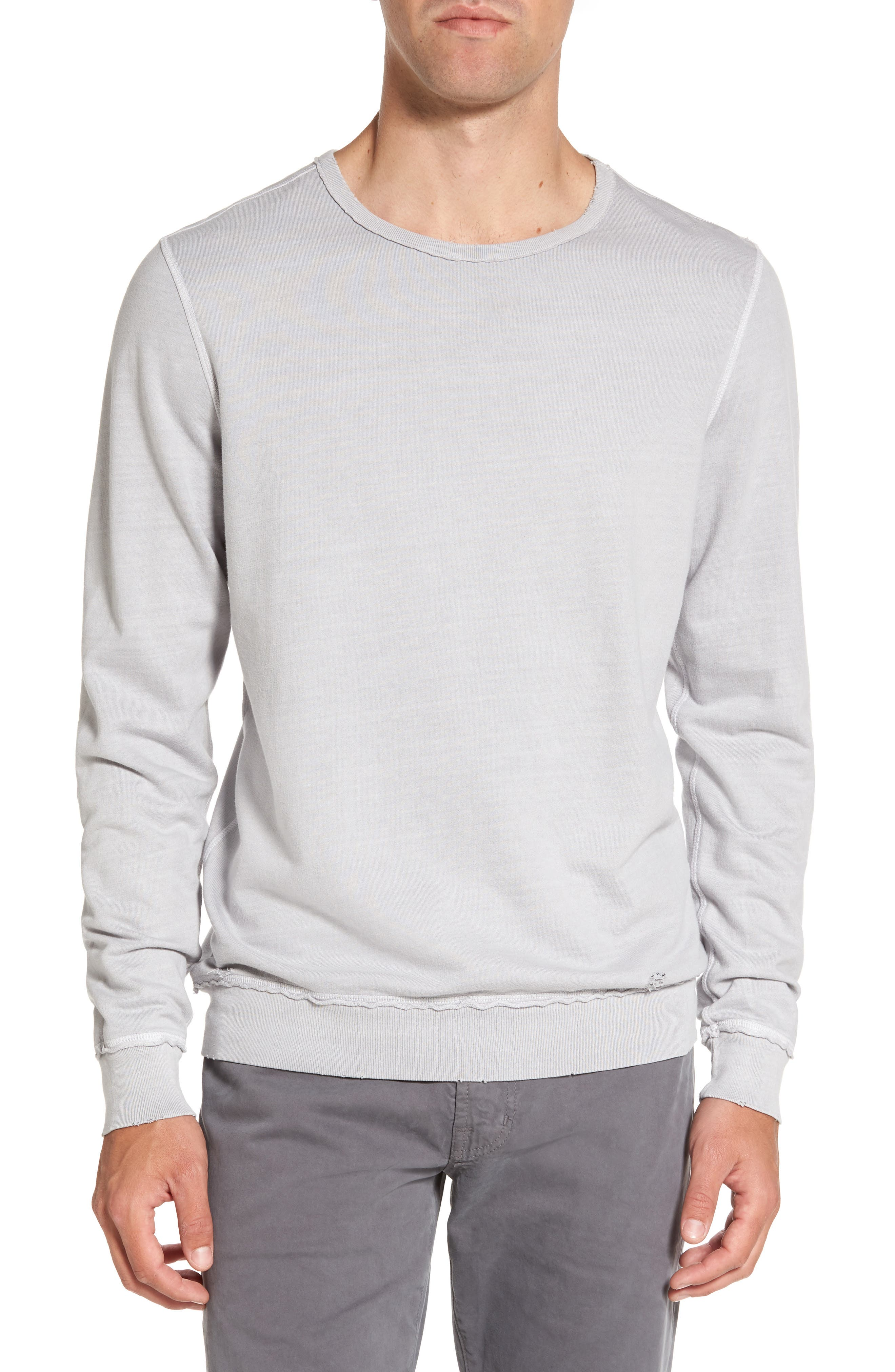 Brendan Raw Edge Crewneck Sweatshirt,                             Main thumbnail 1, color,                             Pigment Chrome