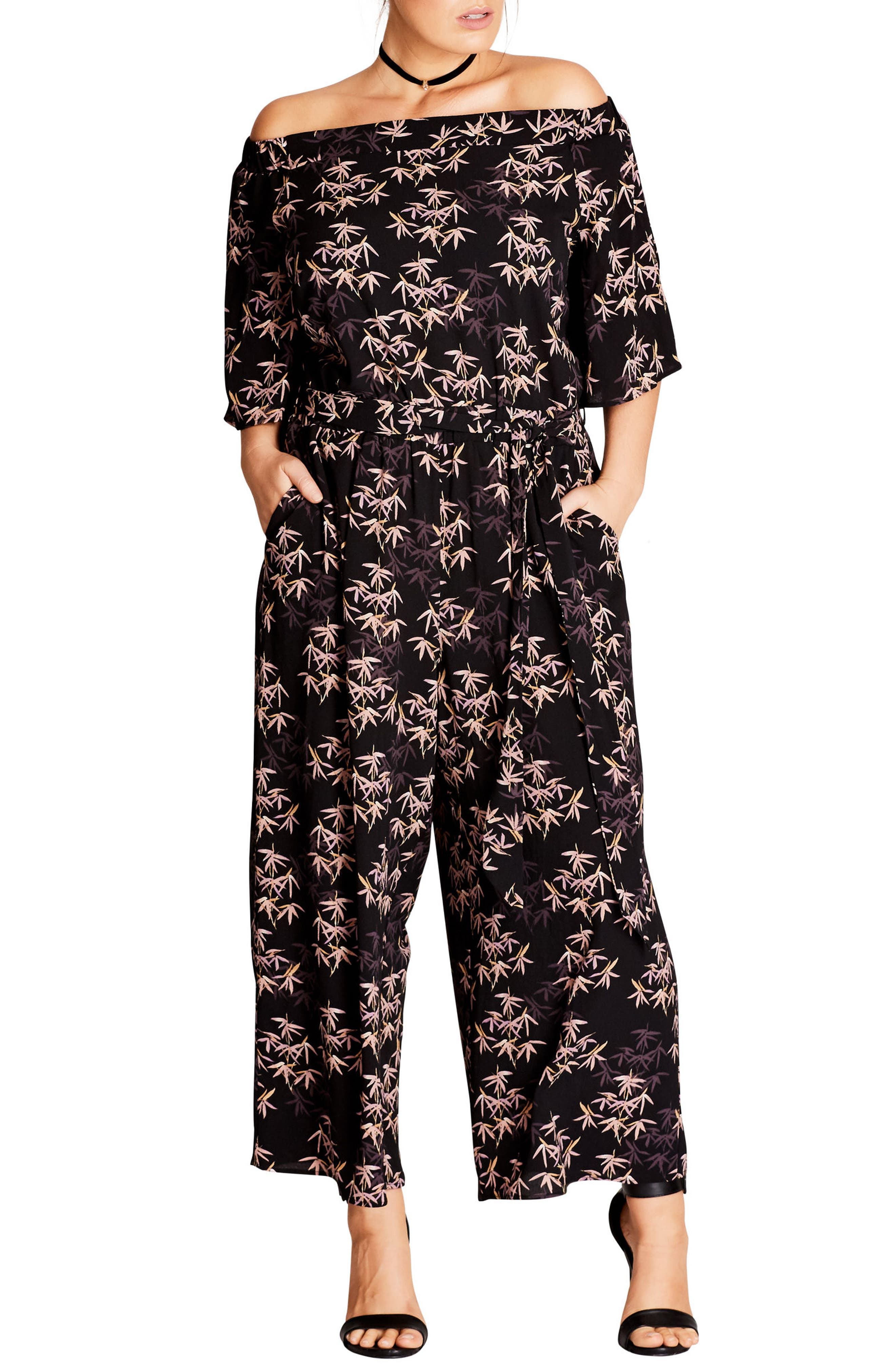 Alternate Image 1 Selected - City Chic Bamboo Print Jumpsuit (Plus Size)