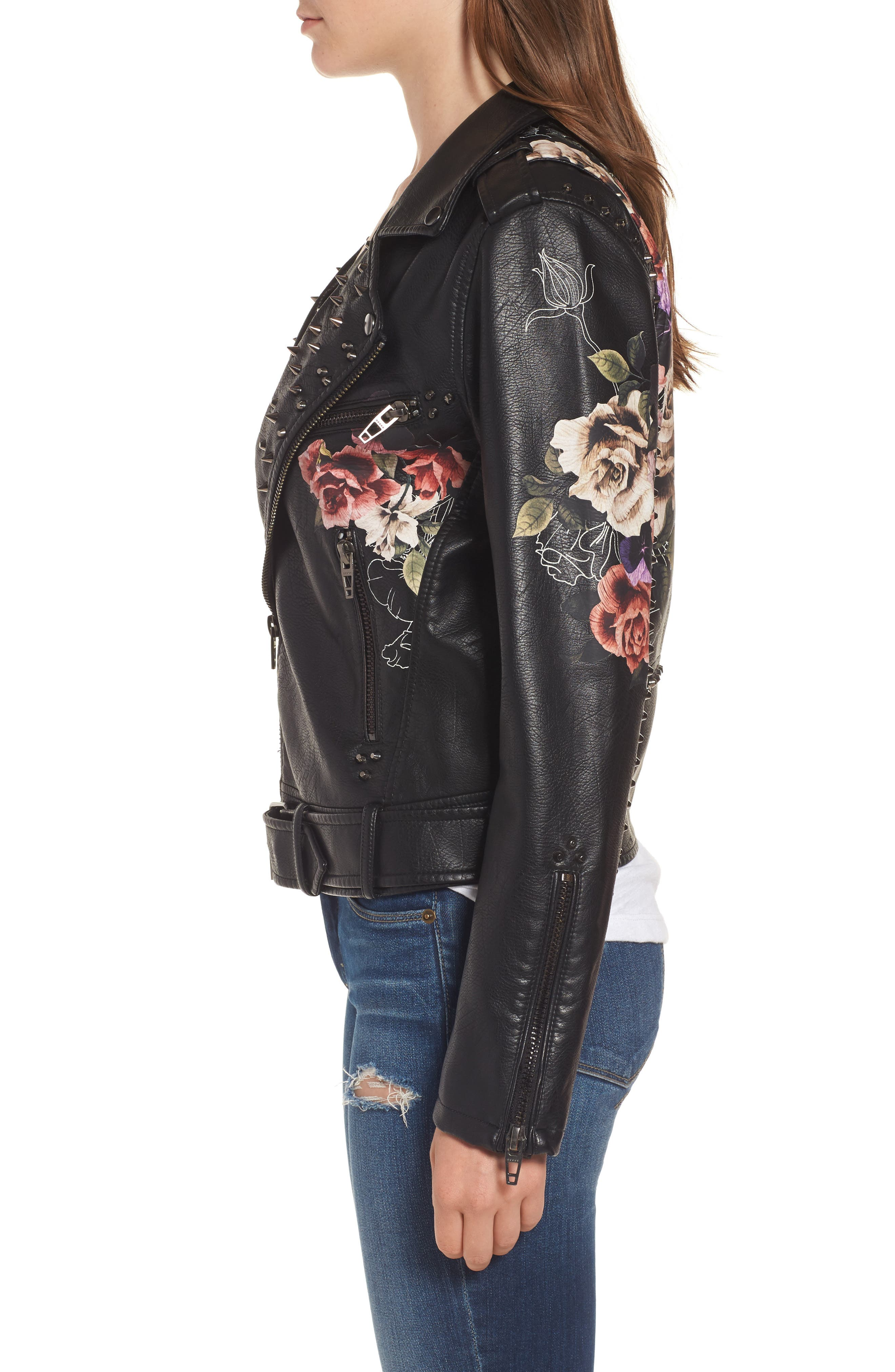 Printed Faux Leather Moto Jacket,                             Alternate thumbnail 4, color,                             Love And Leave