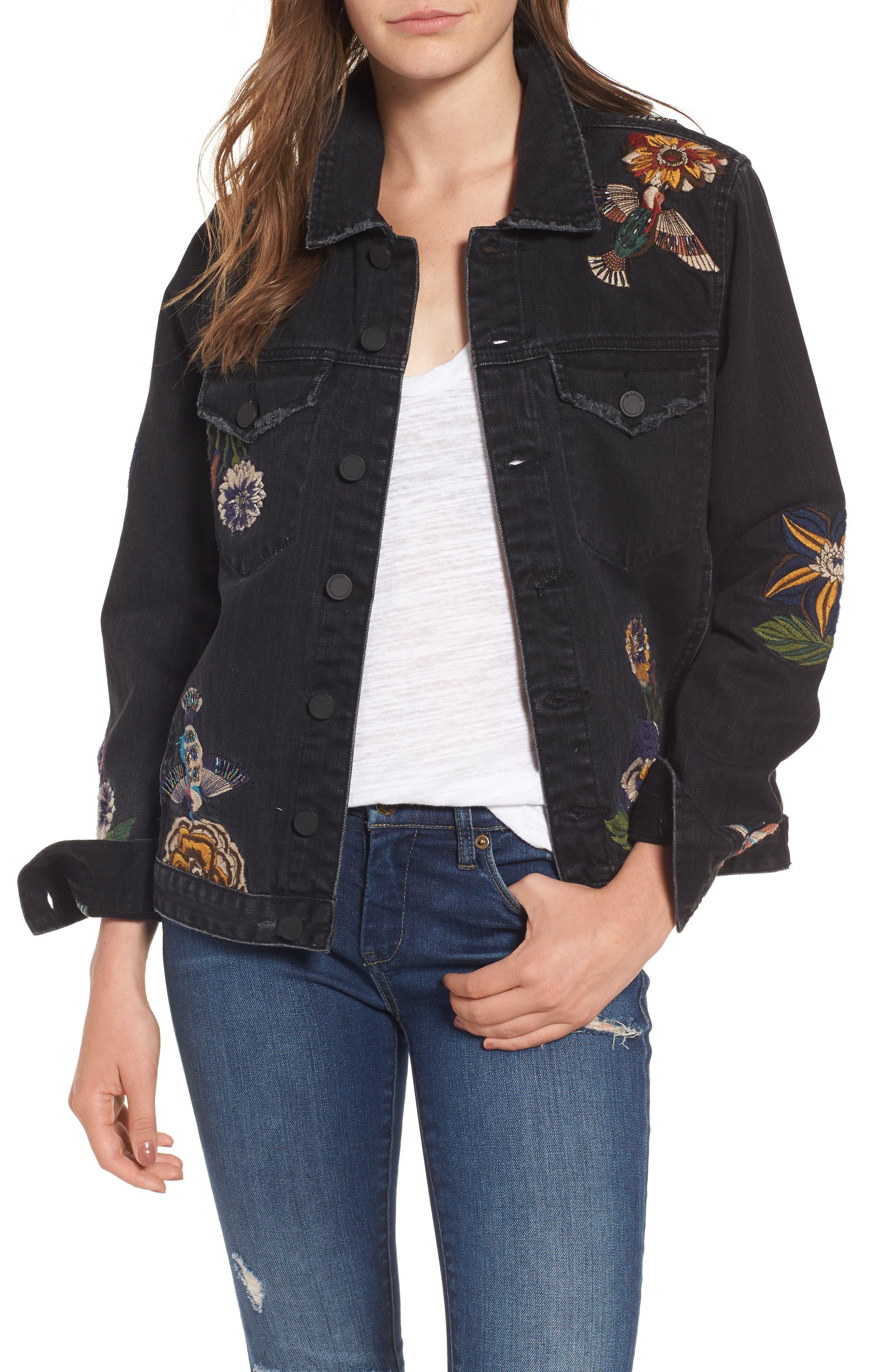 Embroidered Denim Jacket,                         Main,                         color, Night Skies